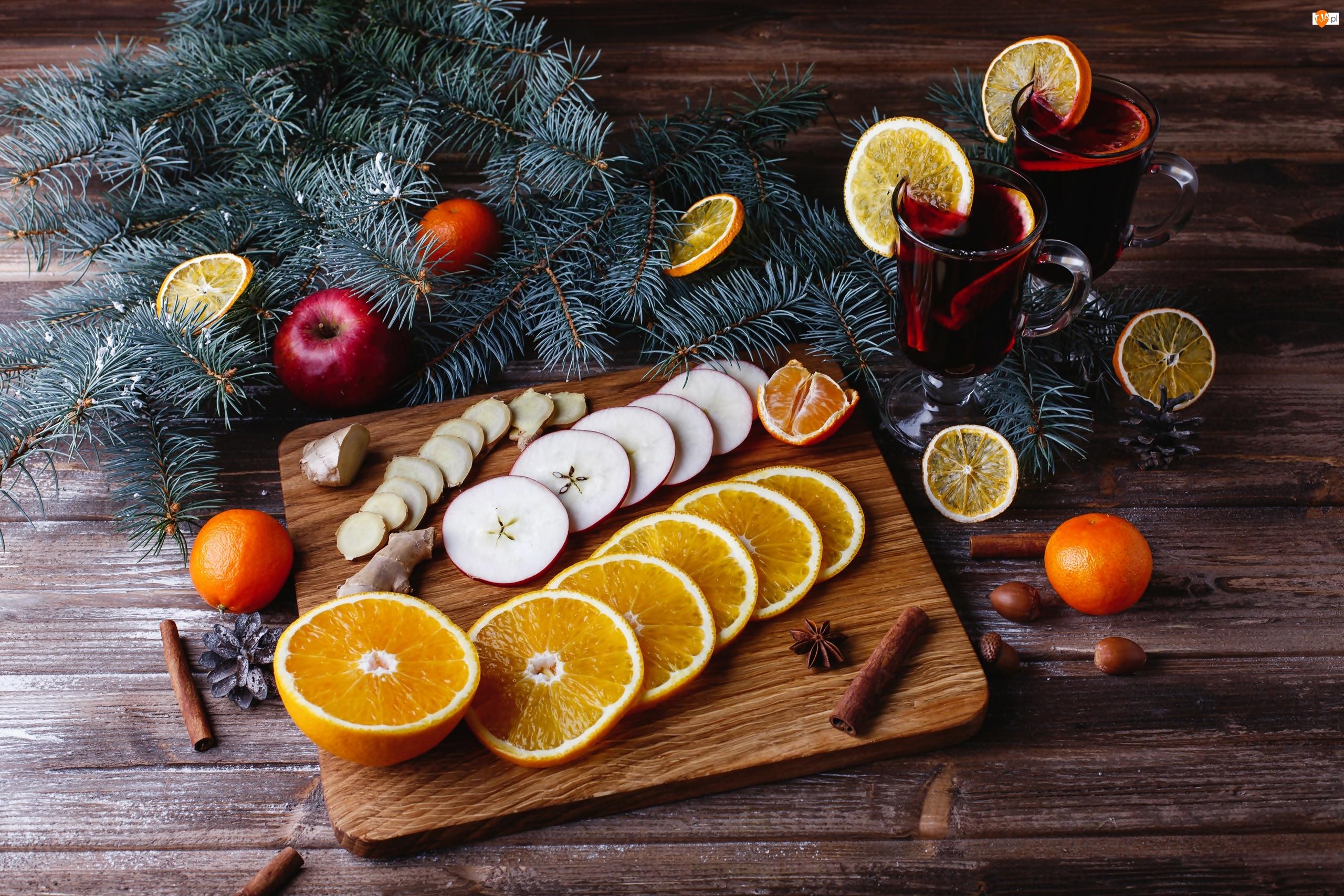 Gałązki, Plasterki, Jabłka, Szklanki, Owoce, Deska, Napój, Pomarańcze