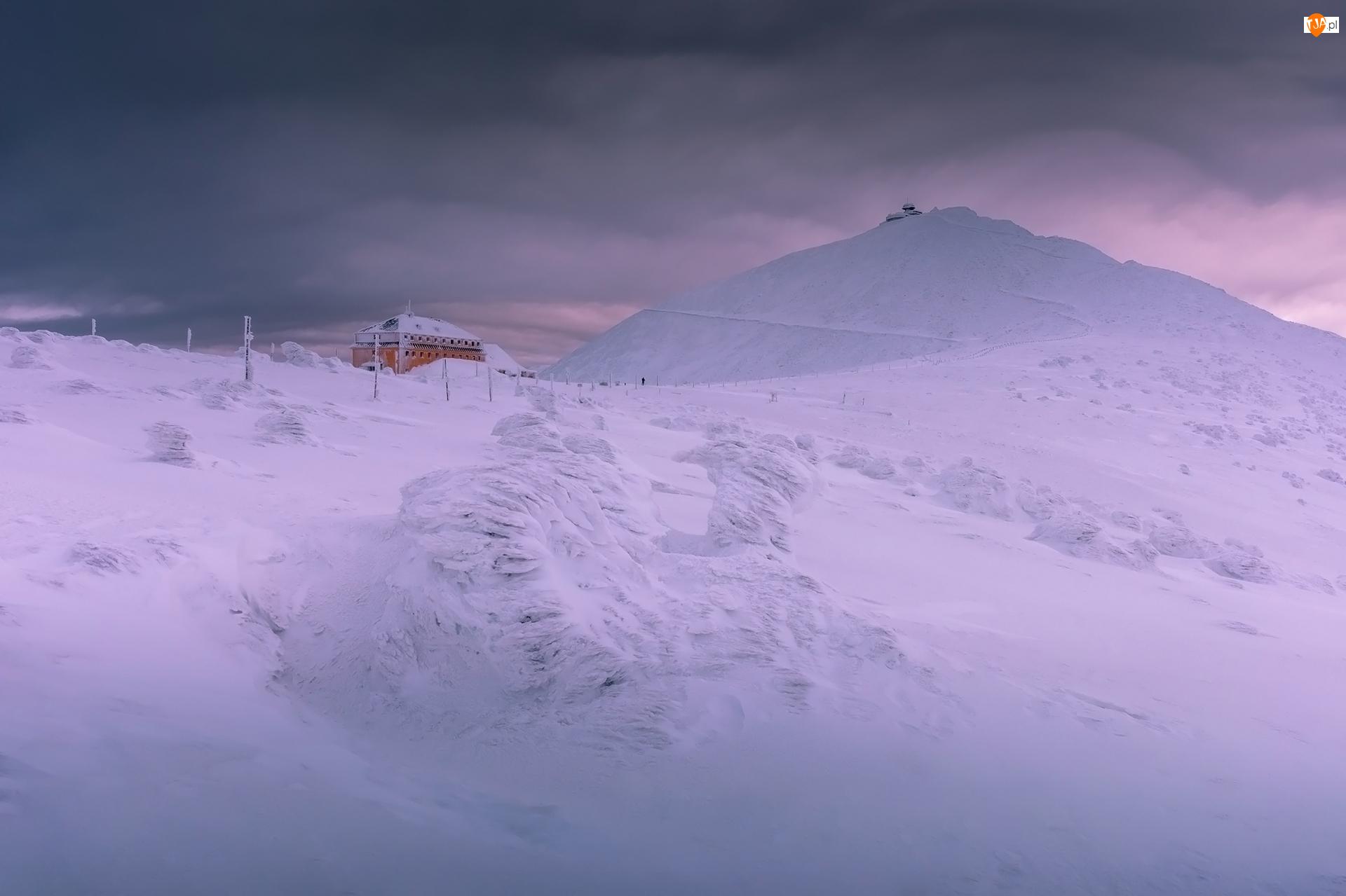 Góry Sudety, Obserwatorium, Polska, Zima, Schronisko, Dom, Szczyt Śnieżka