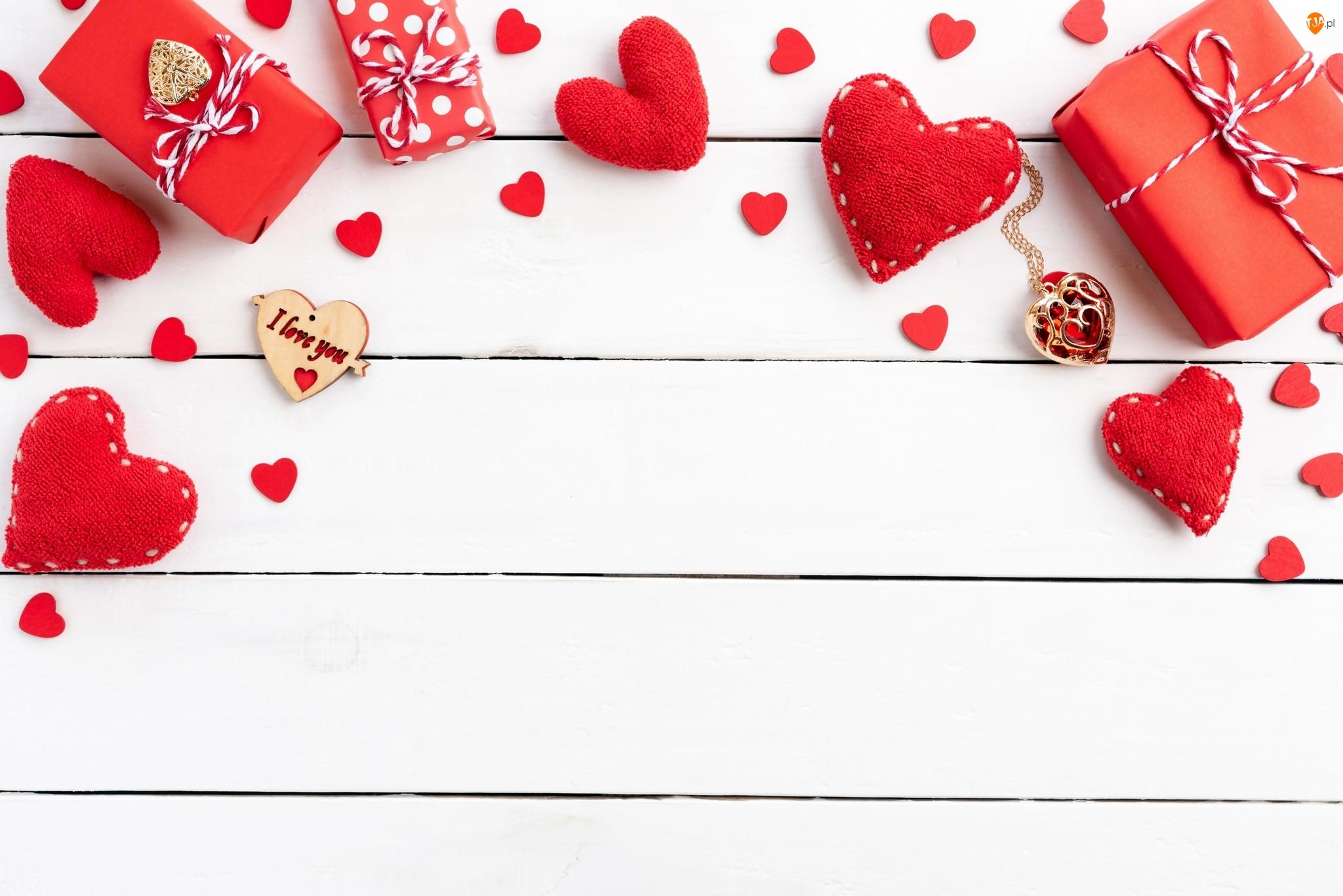 Serca, Walentynki, Czerwone, Prezenty, Deski