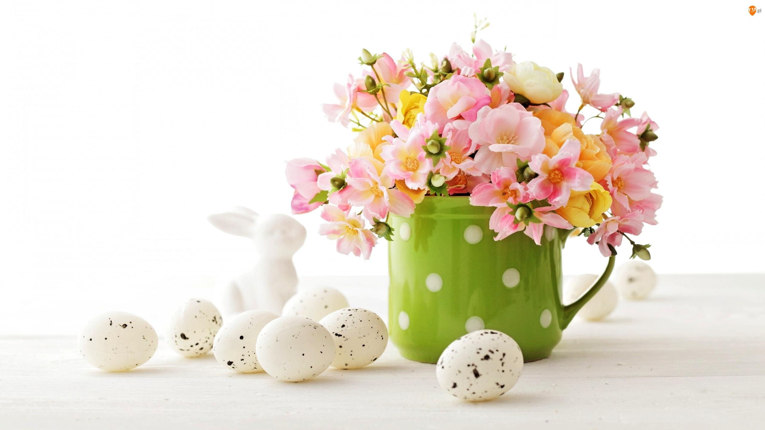 Bukiet, Kwiaty, Zajączek, Wielkanoc, Jajeczka, Kubek, Zielony