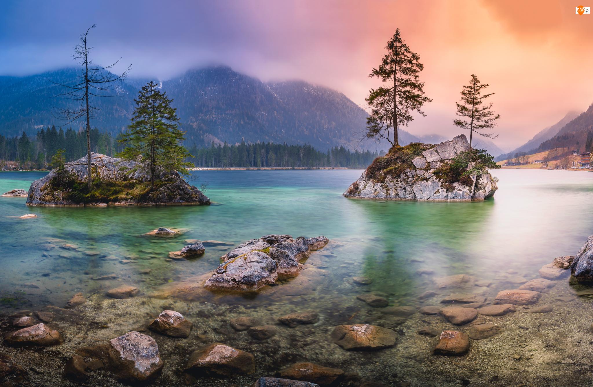 Skały, Drzewa, Niemcy, Jezioro Hintersee, Bawaria, Mgła, Góry Alpy
