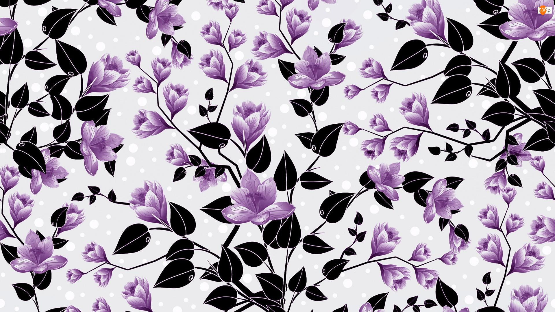 Kwiaty, Fioletowe, Listki, Tekstura, Czarne, Tło
