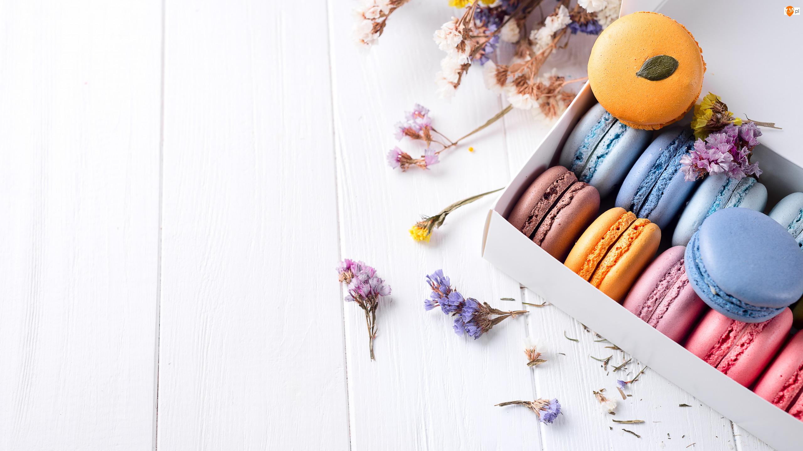 Kwiatki, Ciastka, Makaroniki, Pudełko