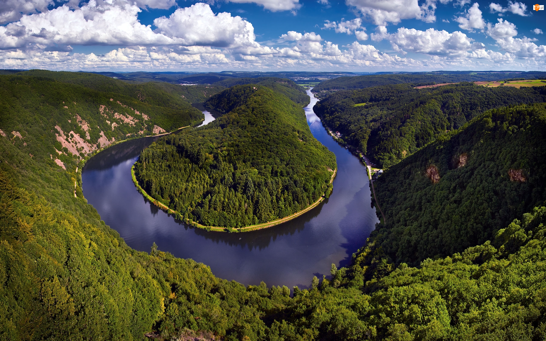 Niemcy, Wzgórza, Mettlach, Zakole, Meandro del Sarre, Lasy, Drzewa, Rzeka Saara, Chmury