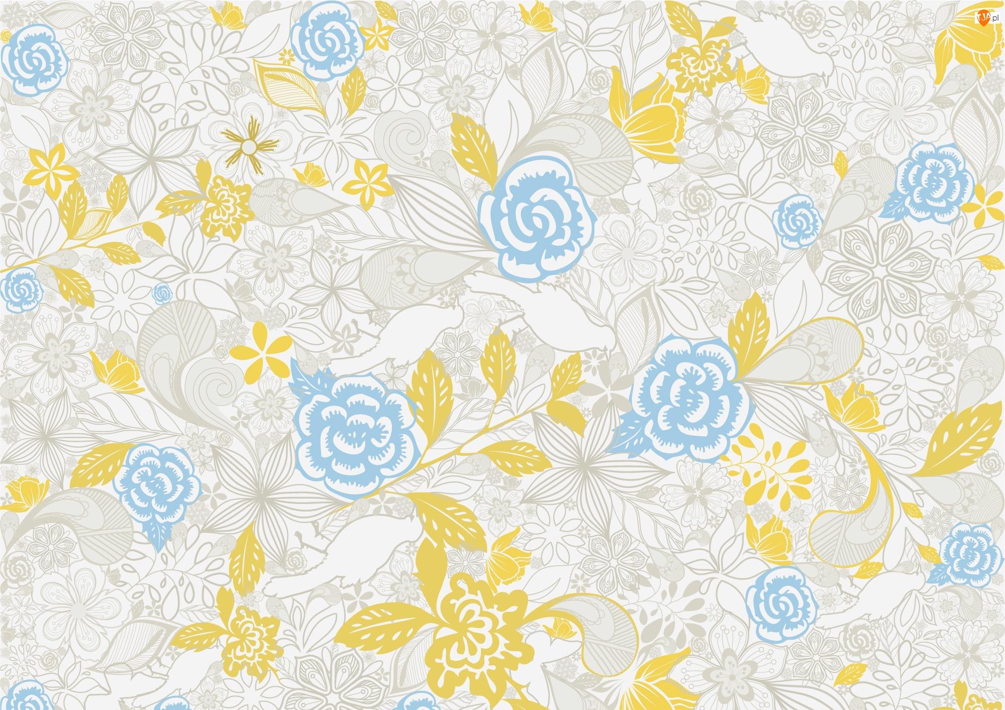 Tekstura, Niebieskie, Żółte, Kwiaty
