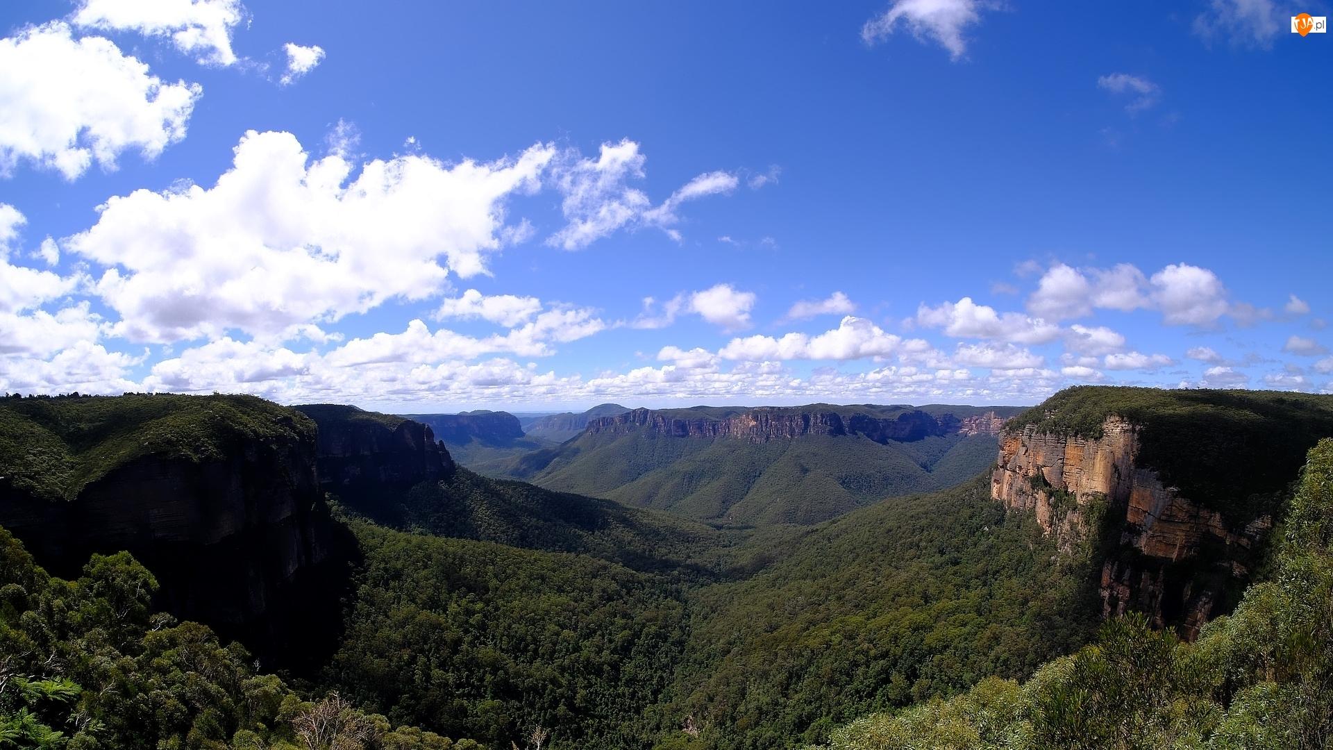Roślinność, Niebo, Australia, Góry Błękitne, Nowa Południowa Walia, Park Narodowy Gór Błękitnych, Chmury