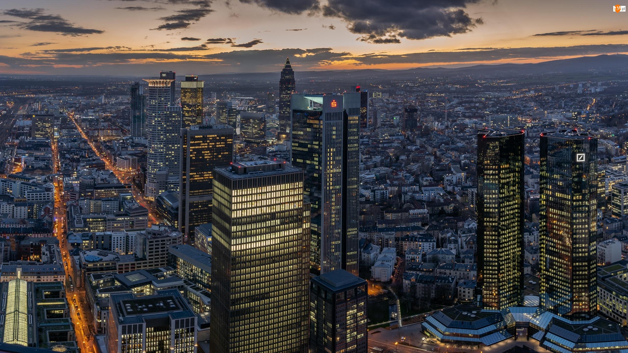 Wieżowce, Niemcy, Domy, Frankfurt nad Menem, Hesja