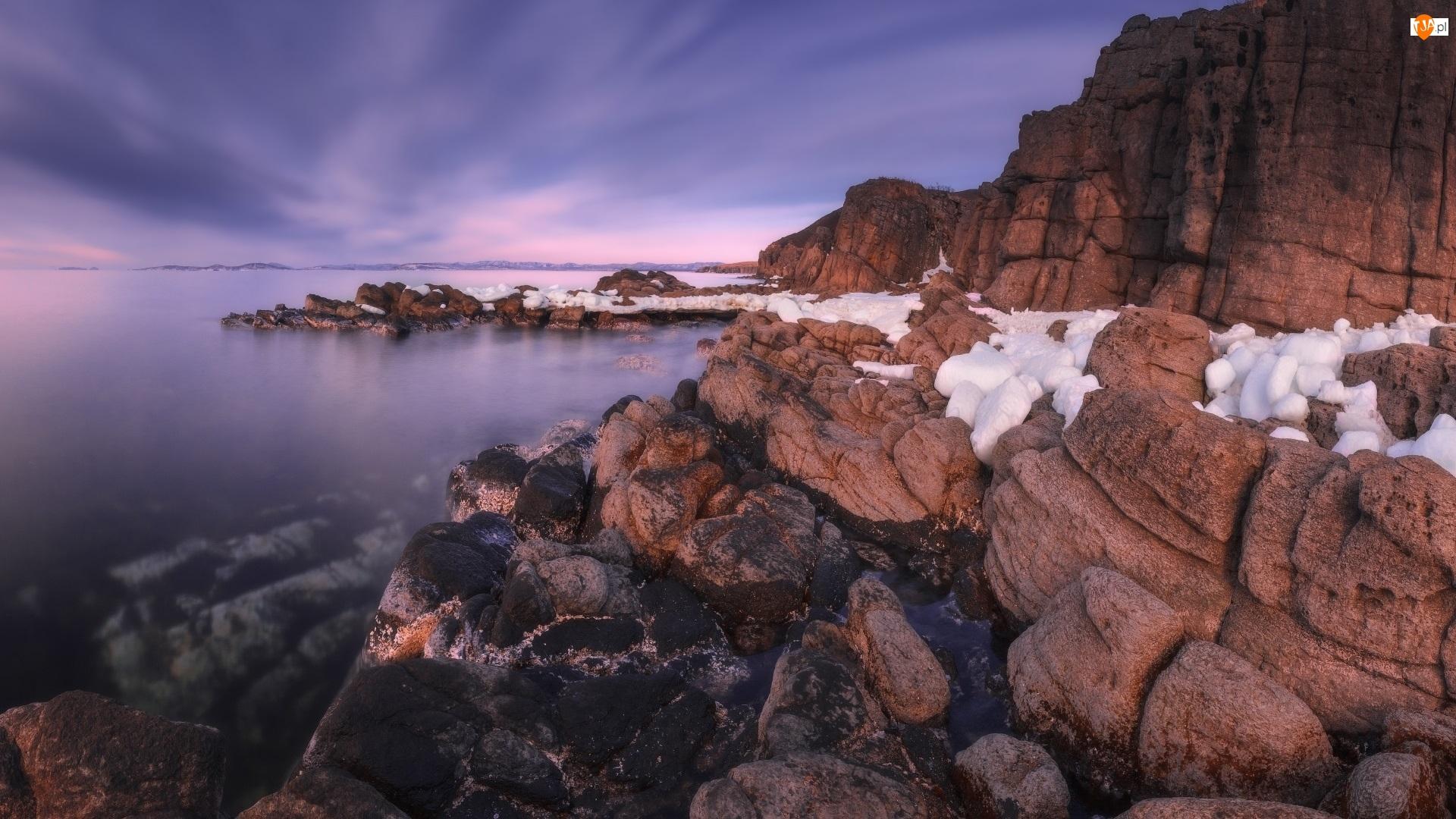 Góry, Rosja, Skały, Morze Japońskie, Śnieg