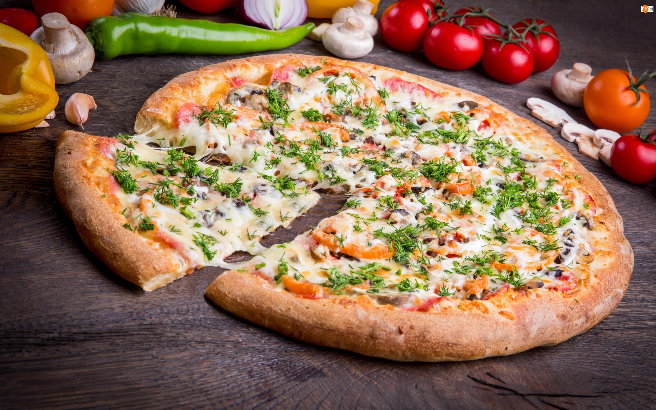 Koperek, Pizza, Pieczarki, Pomidory