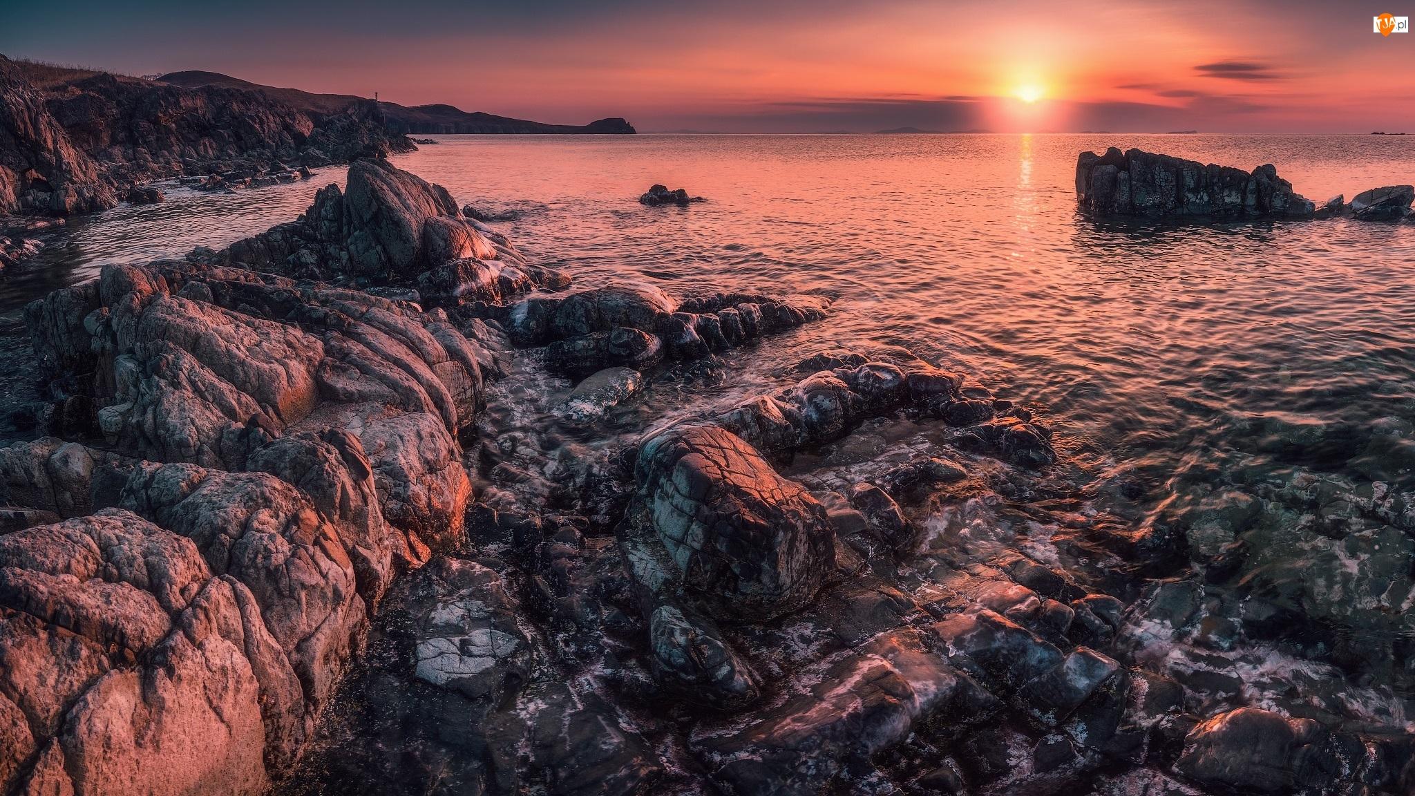 Morze Japońskie, Wybrzeże, Wschód słońca, Rosja, Skały, Kraj Nadmorski