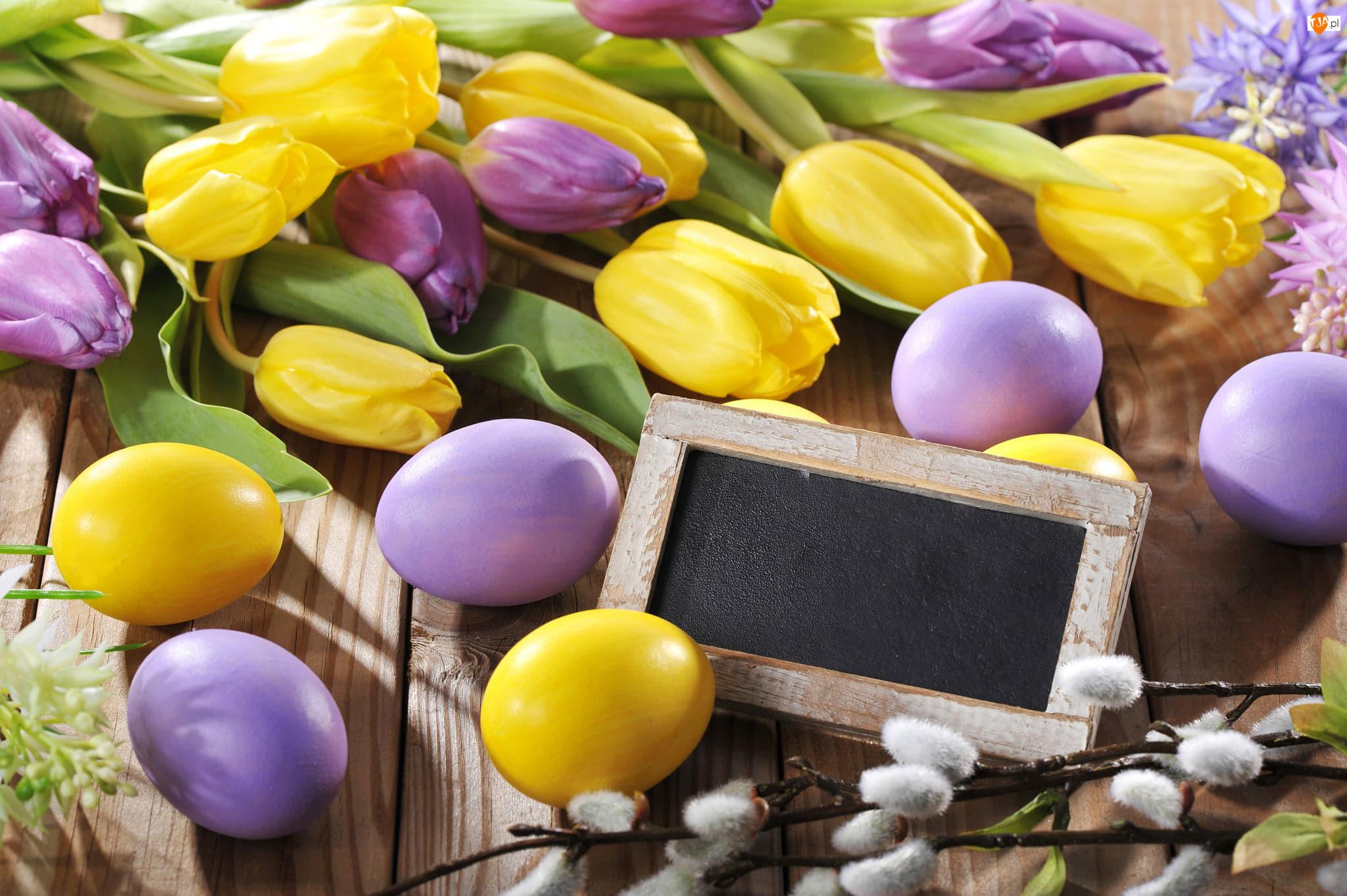 Tulipany, Wielkanoc, Pisanki, Bazie, Kolorowe, Tabliczka