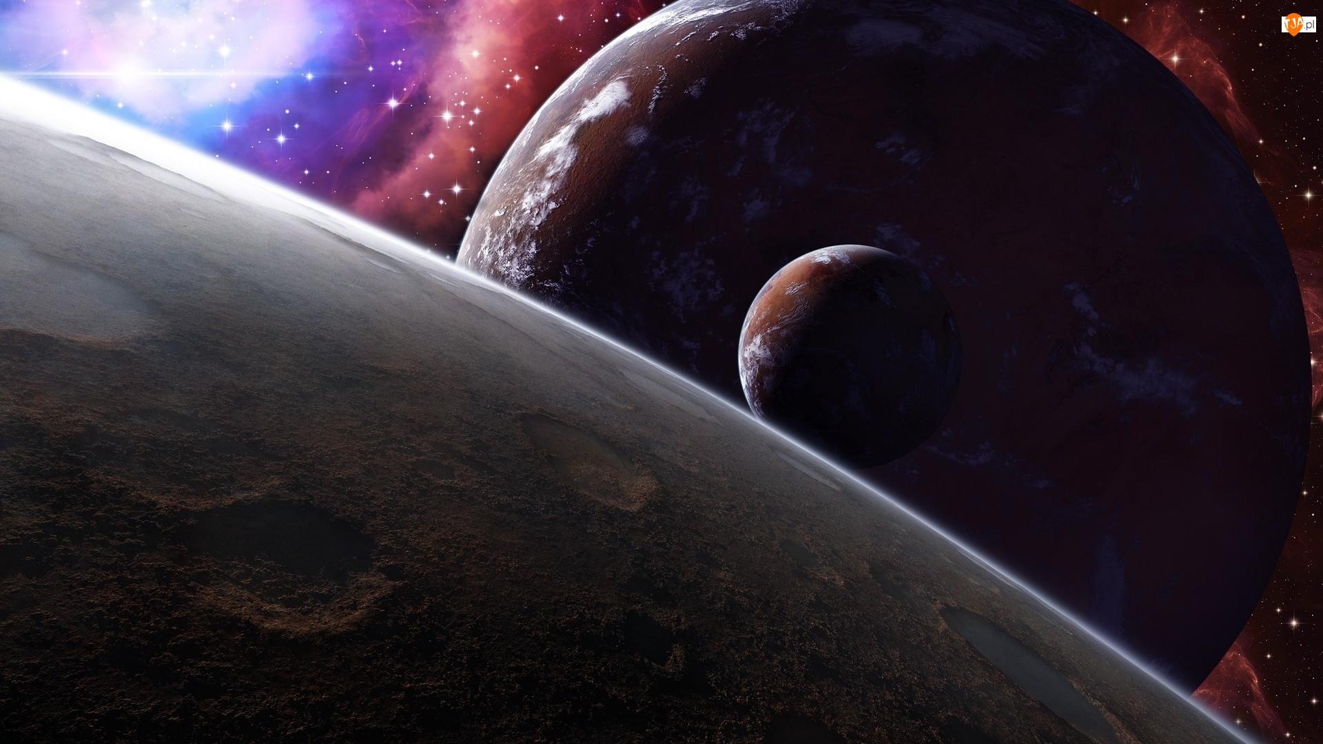 Gwiazdy, 2D, Planety, Kosmos, Galaktyka