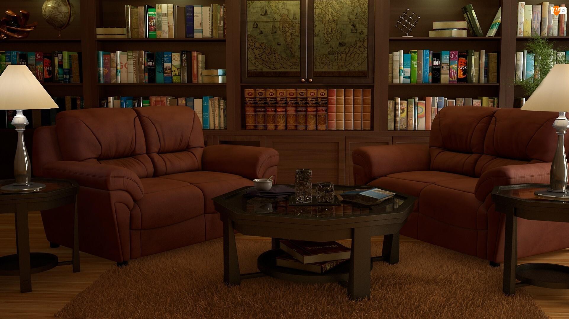 Regały, Pokój, Lampy, Stolik, Książki, Kanapy