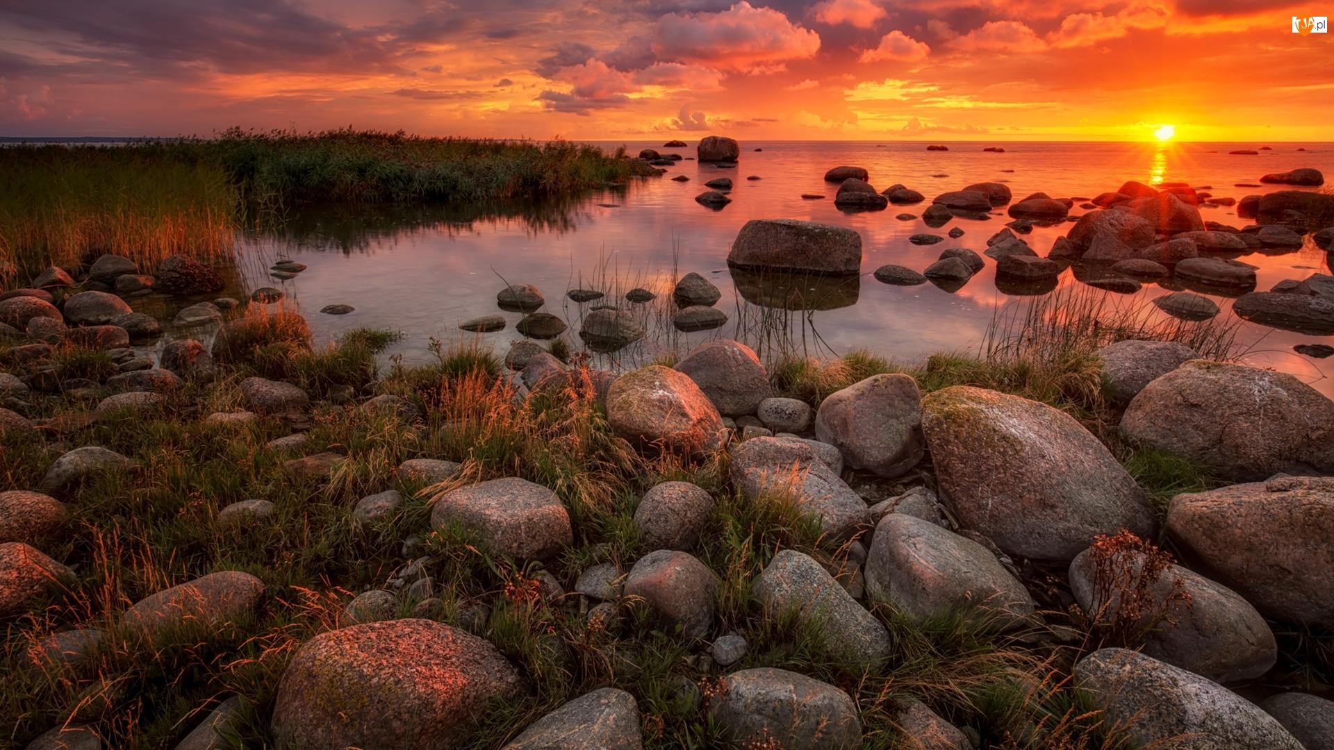 Zachód słońca, Morze, Kamienie, Trawa
