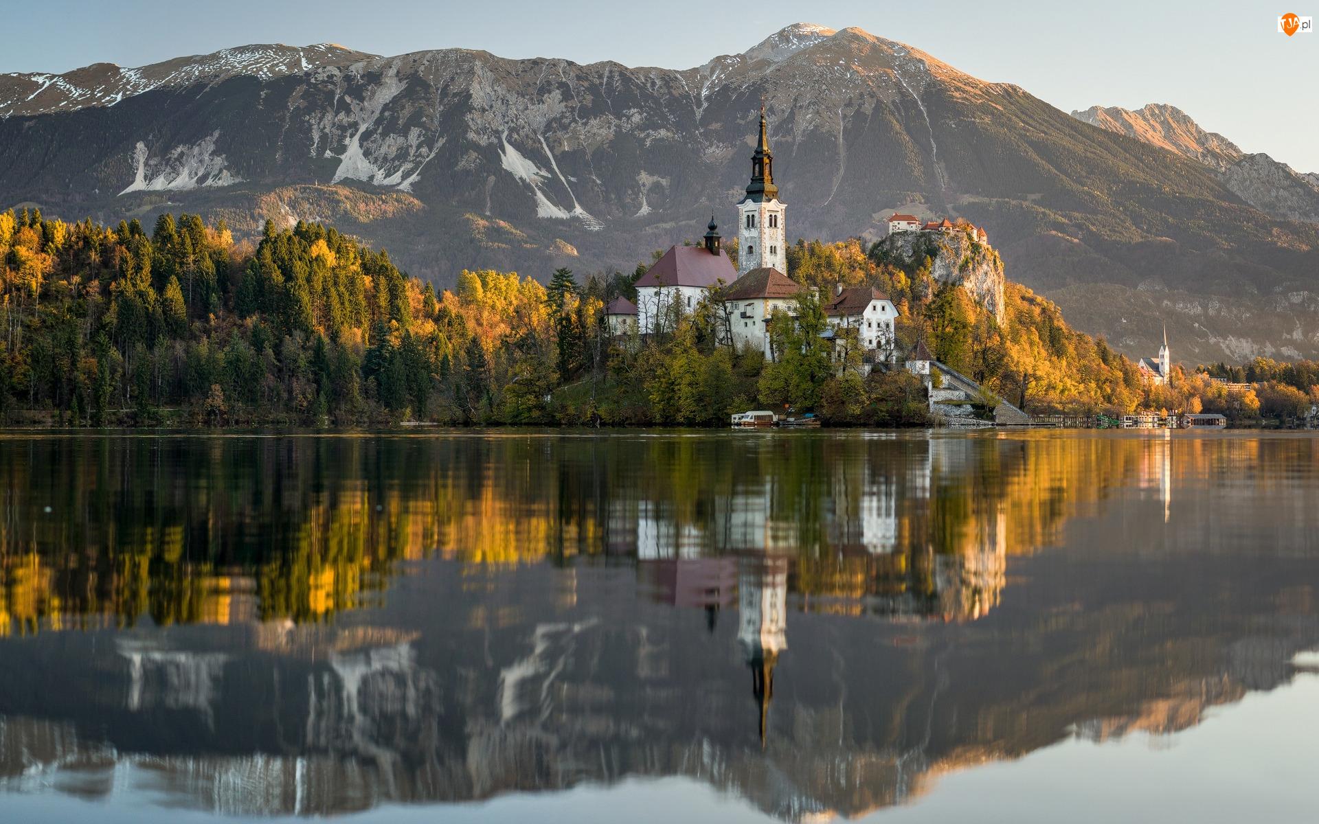 Odbicie, Jesień, Wyspa, Drzewa, Góry, Kościół Wniebowzięcia Najświętszej Marii Panny, Słowenia, Jezioro Bled
