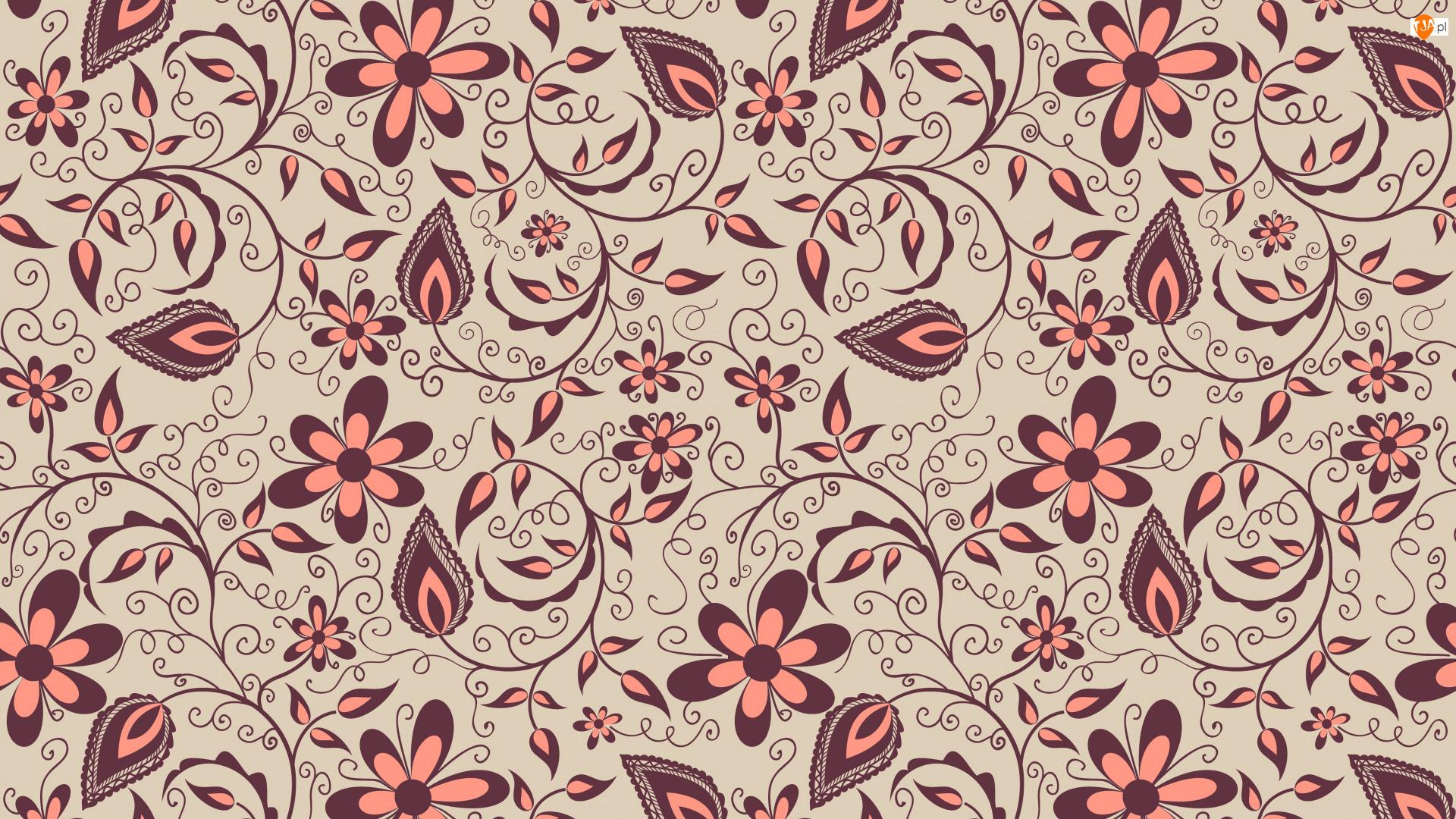 Kwiaty, Brązowo-różowe, Tekstura, Tło, Wzór, Beżowe