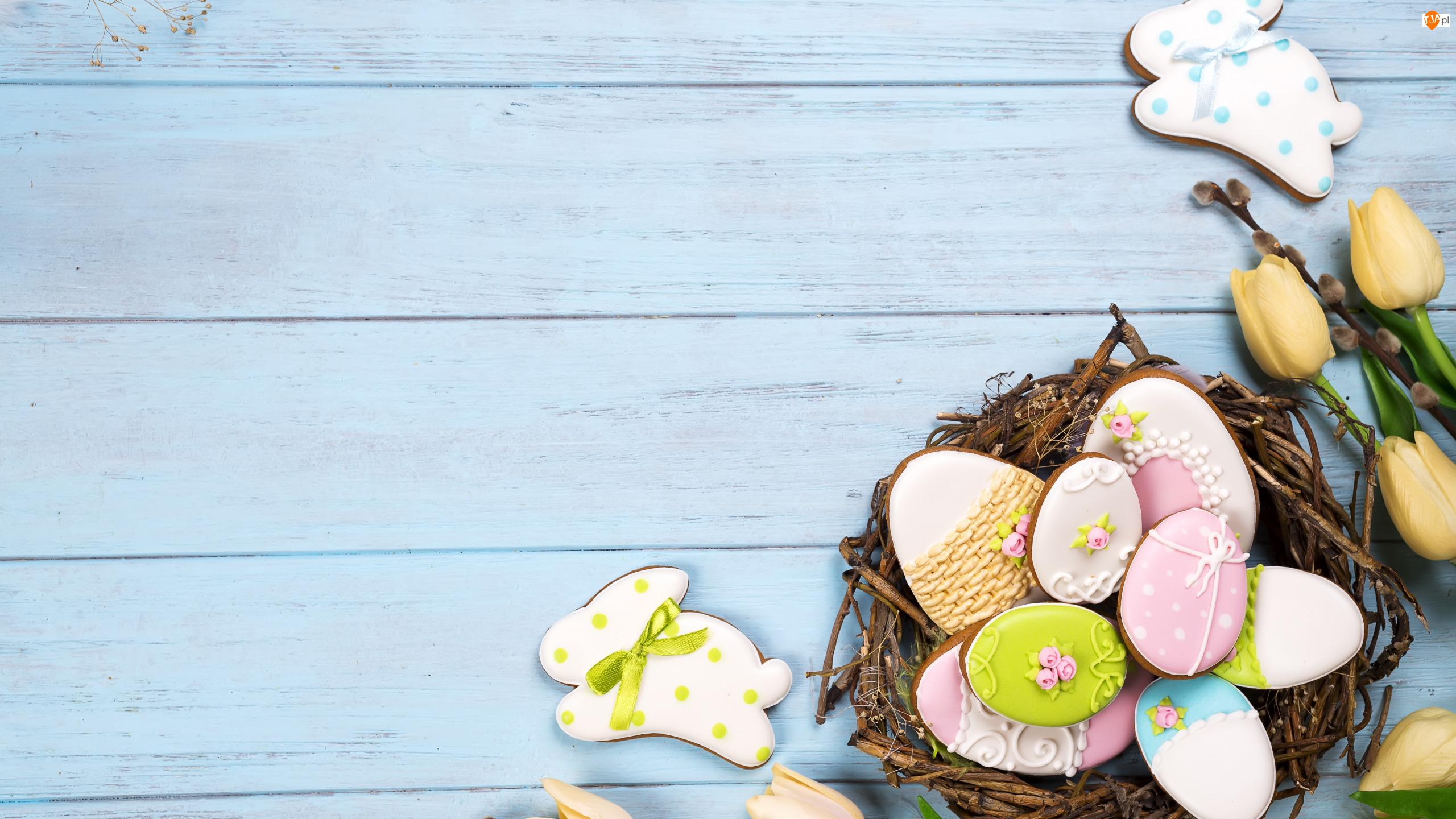 Ciasteczka, Pisanki, Gałązki, Wielkanoc, Wieniec, Zajączek, Tulipany