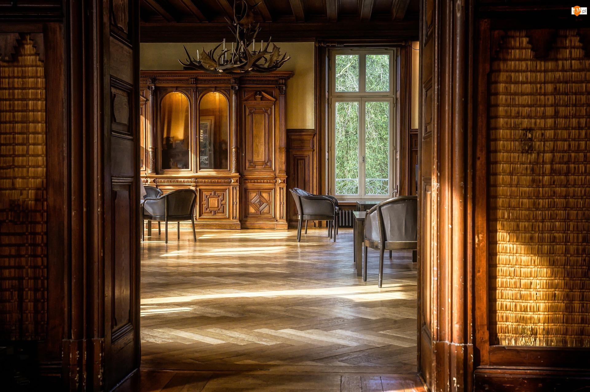 Wnętrze, Pokój, Stare, Antyki, Podłoga, Meble