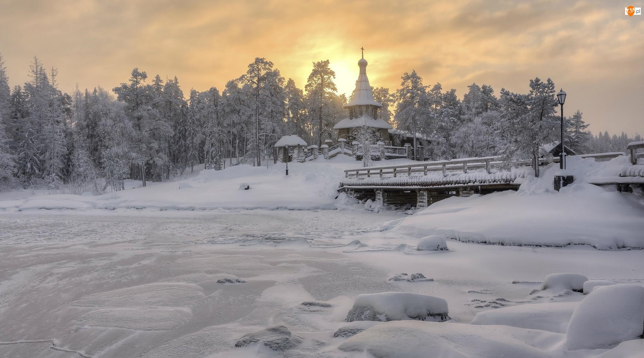 Wyspa Wałaam, Zima, Most, Karelia, Cerkiew, Drzewa, Rosja, Rzeka