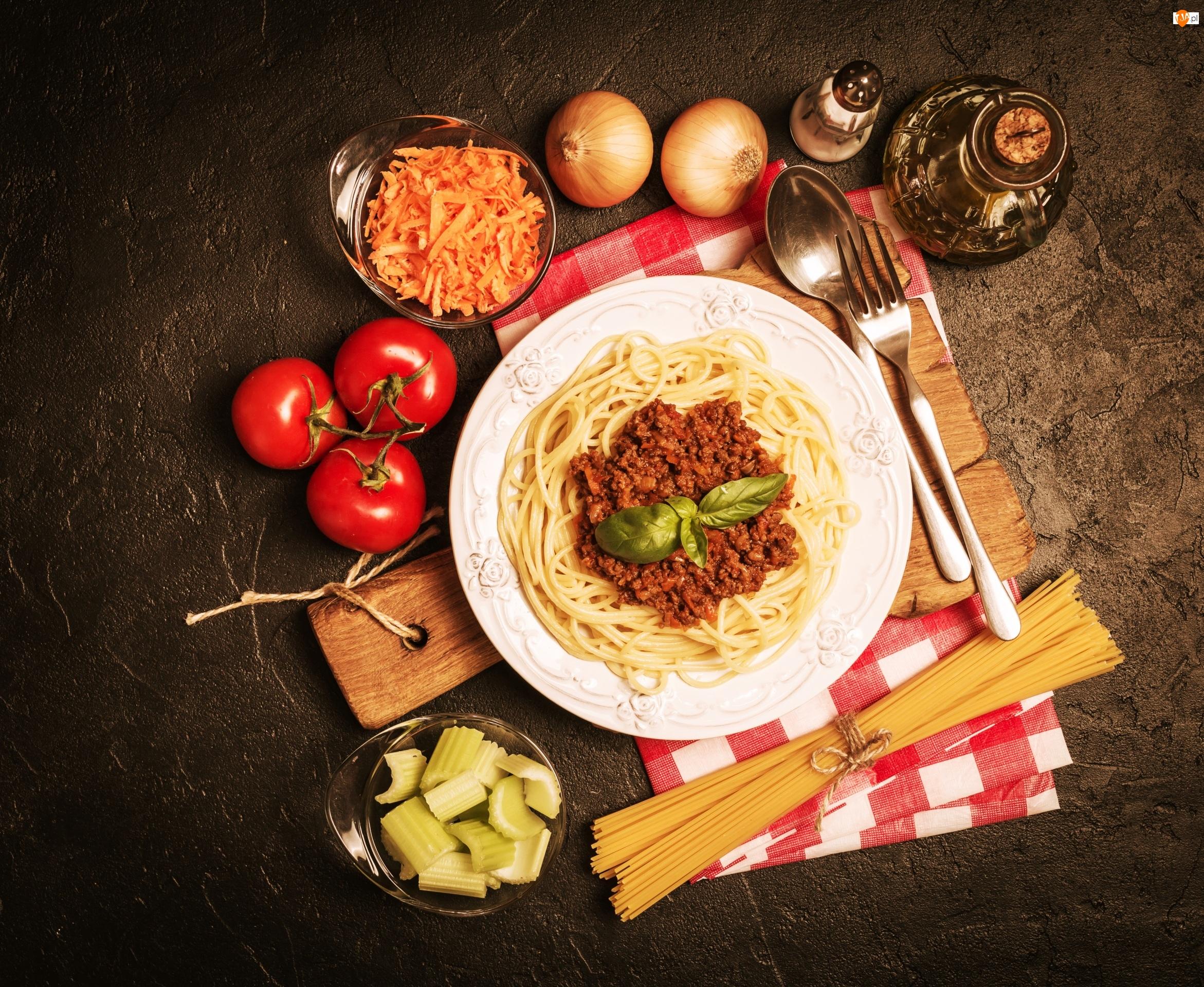 Pomidory, Spaghetti, Talerz, Makaron