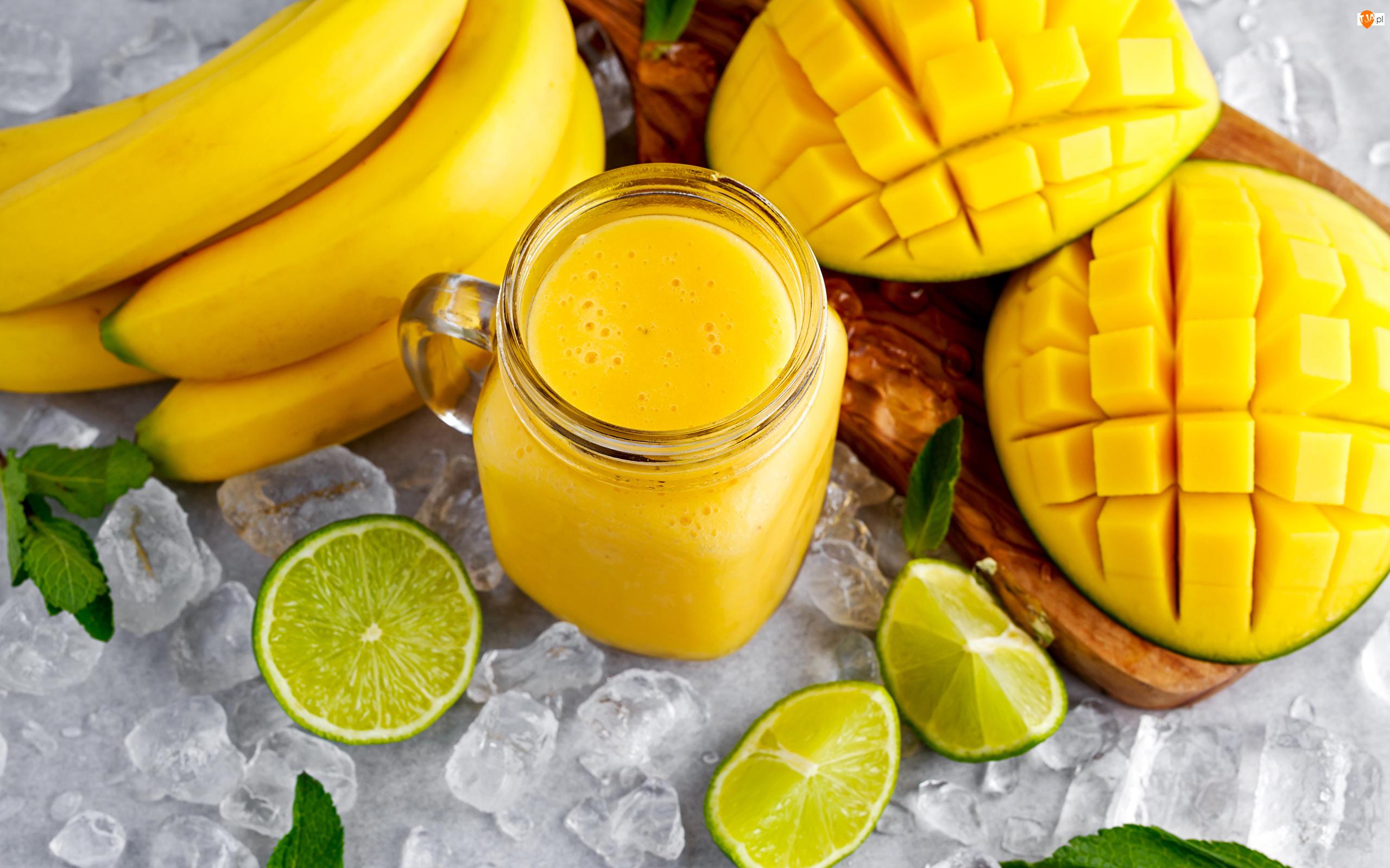 Smoothie, Mango, Lodu, Napój, Kostki, Limonka, Banany