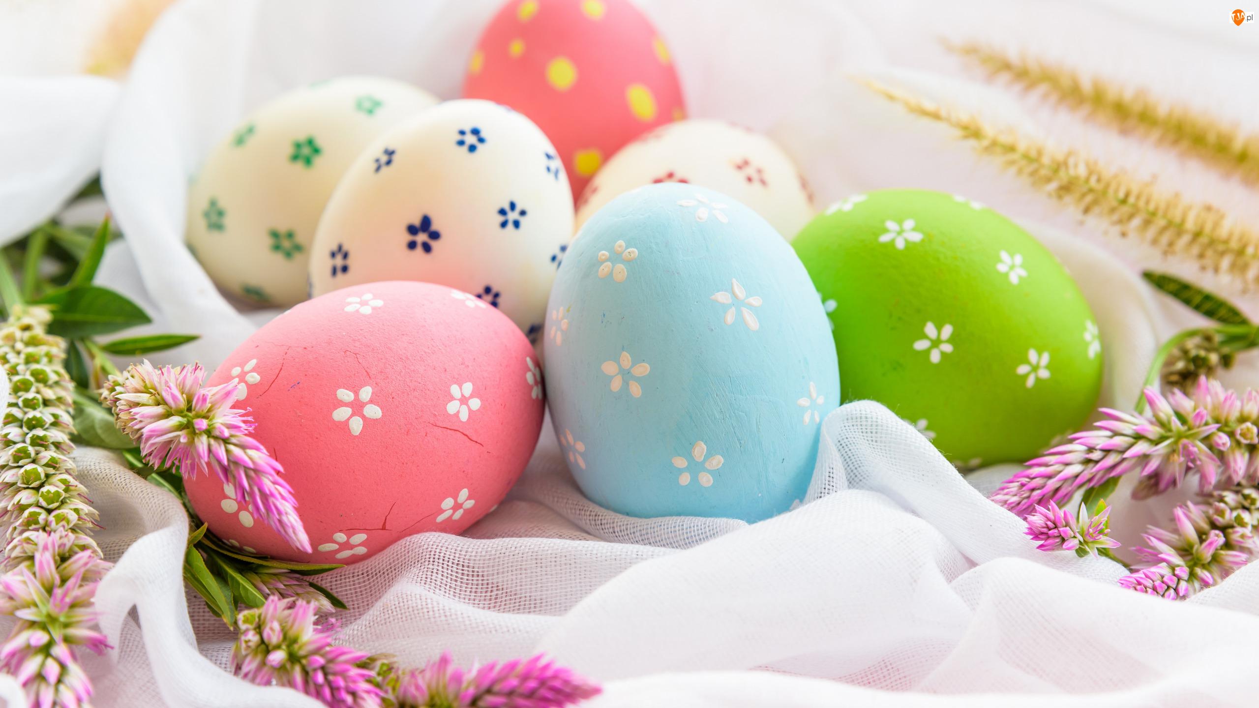 Pisanki, Tkanina, Kolorowe, Wielkanoc, Kwiaty