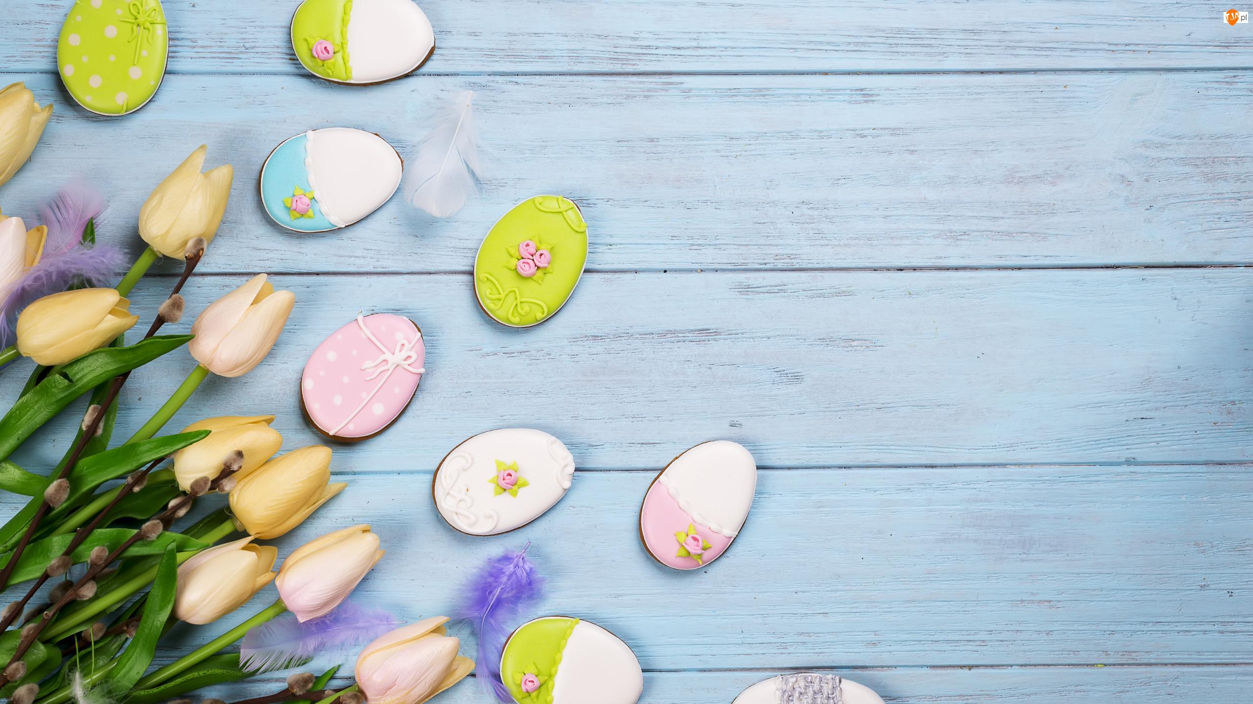 Ciasteczka, Wielkanoc, Tulipany, Deski, Pisanki, Bazie