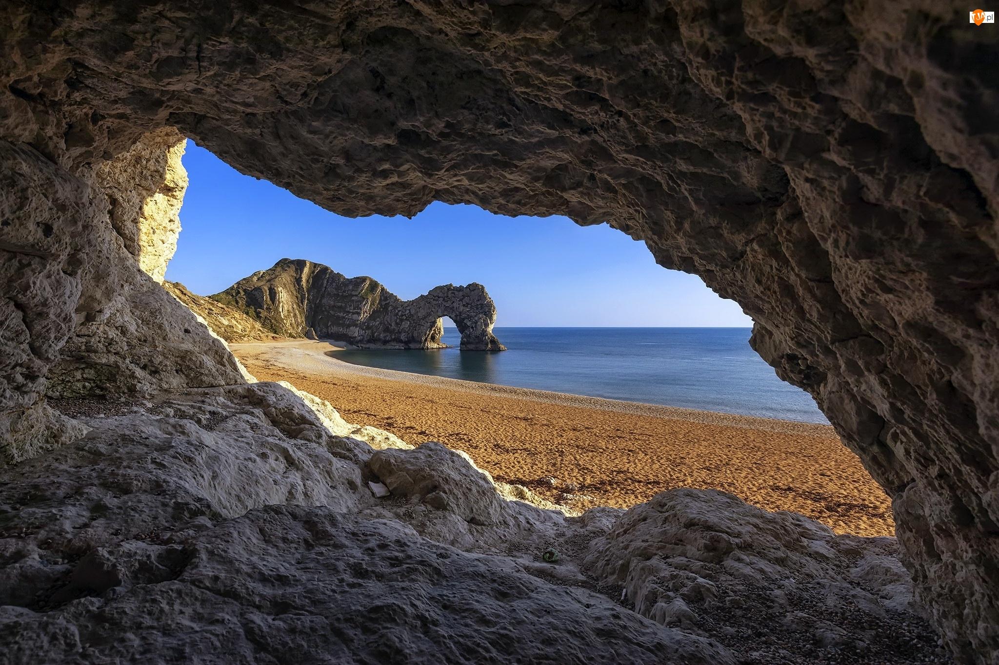 Morze, Łuk wapienny, Plaża, Hrabstwo Dorset, Durdle Door, Skały, Anglia, Wybrzeże Jurajskie