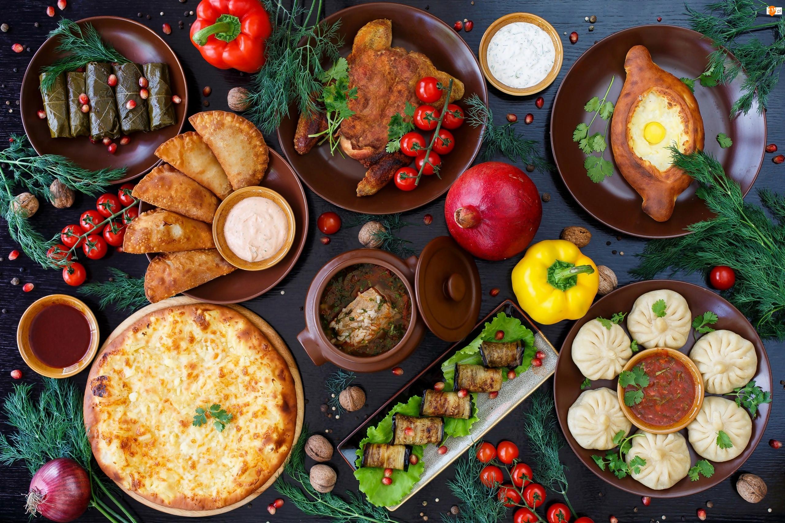 Potrawy, Jedzenie, Mięso, Miski, Pierogi, Warzywa