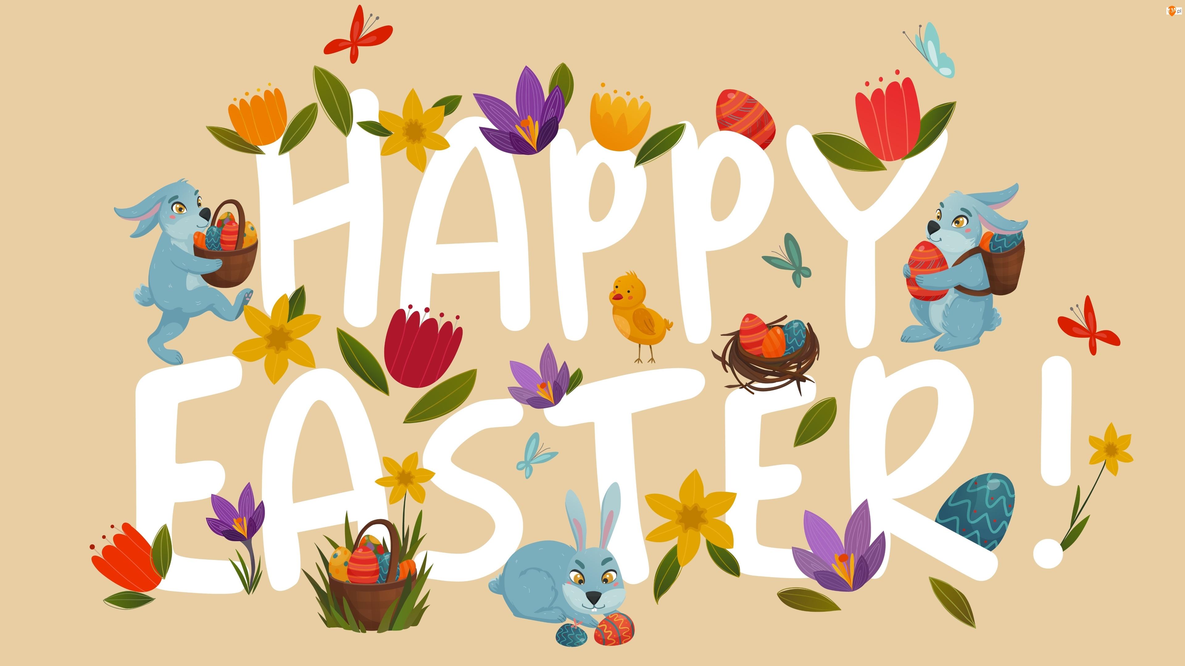 Napis, 2D, Zajączki, Wielkanoc, Happy Easter
