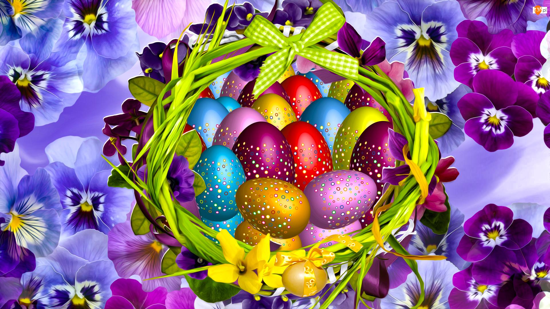 Kwiaty, Grafika, Pisanki, Wielkanoc, Bratki
