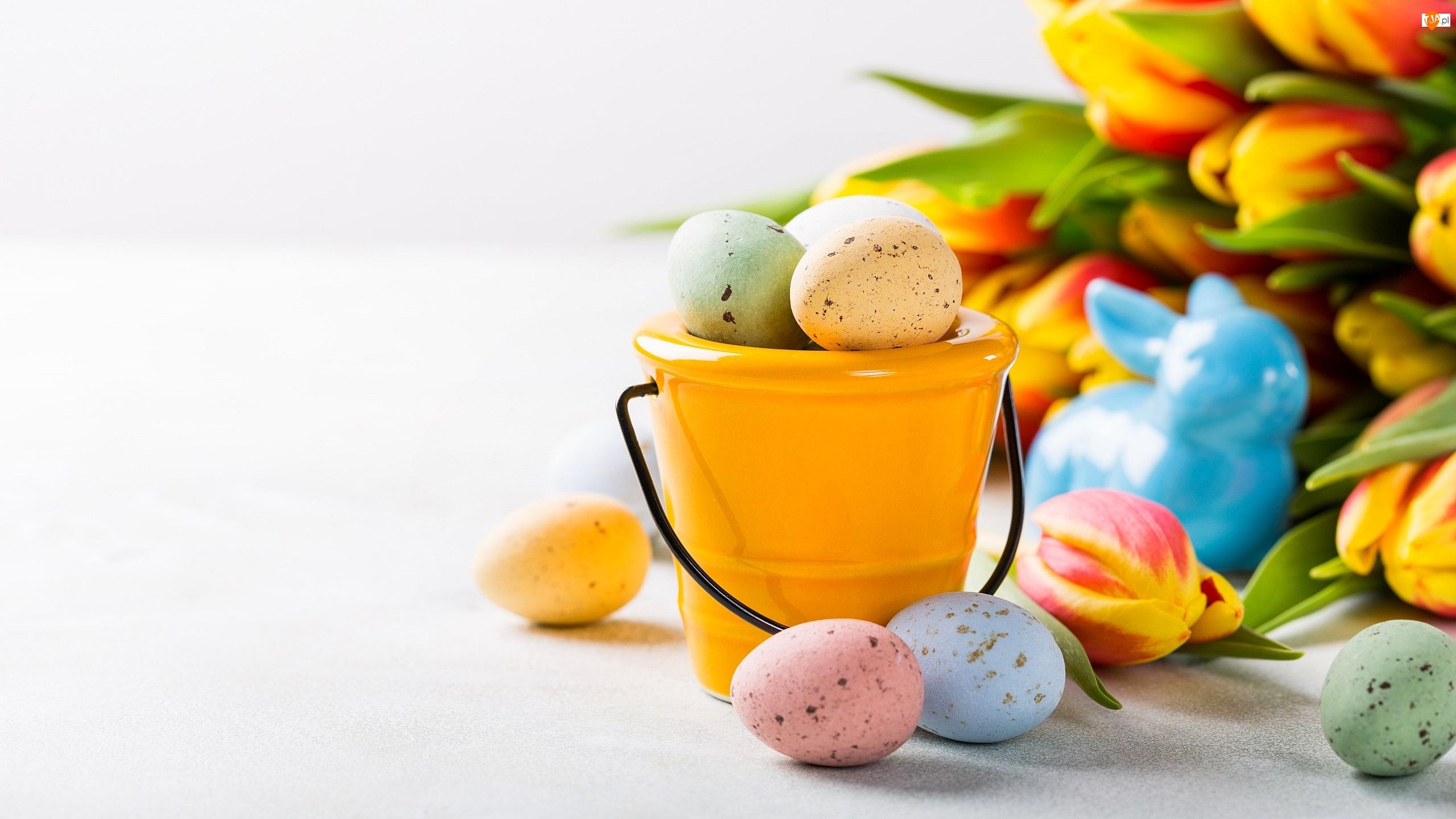 Pisanki, Wielkanoc, Wiaderko, Tulipany, Żółte, Zajączek
