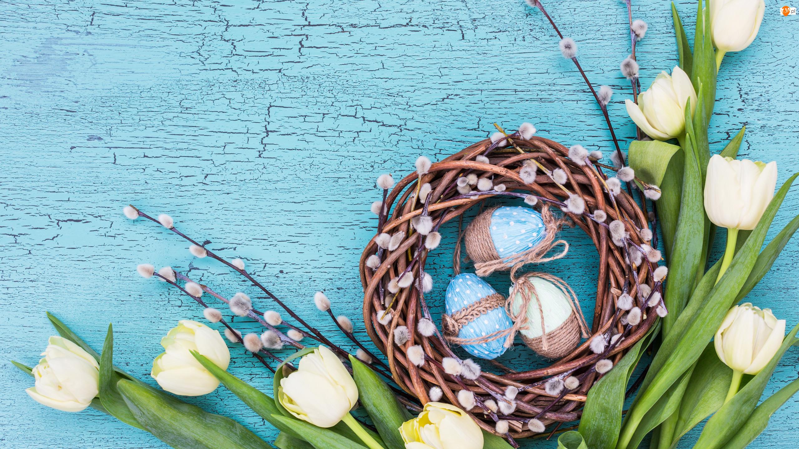Pisanki, Wielkanoc, Bazie, Deska, Tulipany, Niebieska