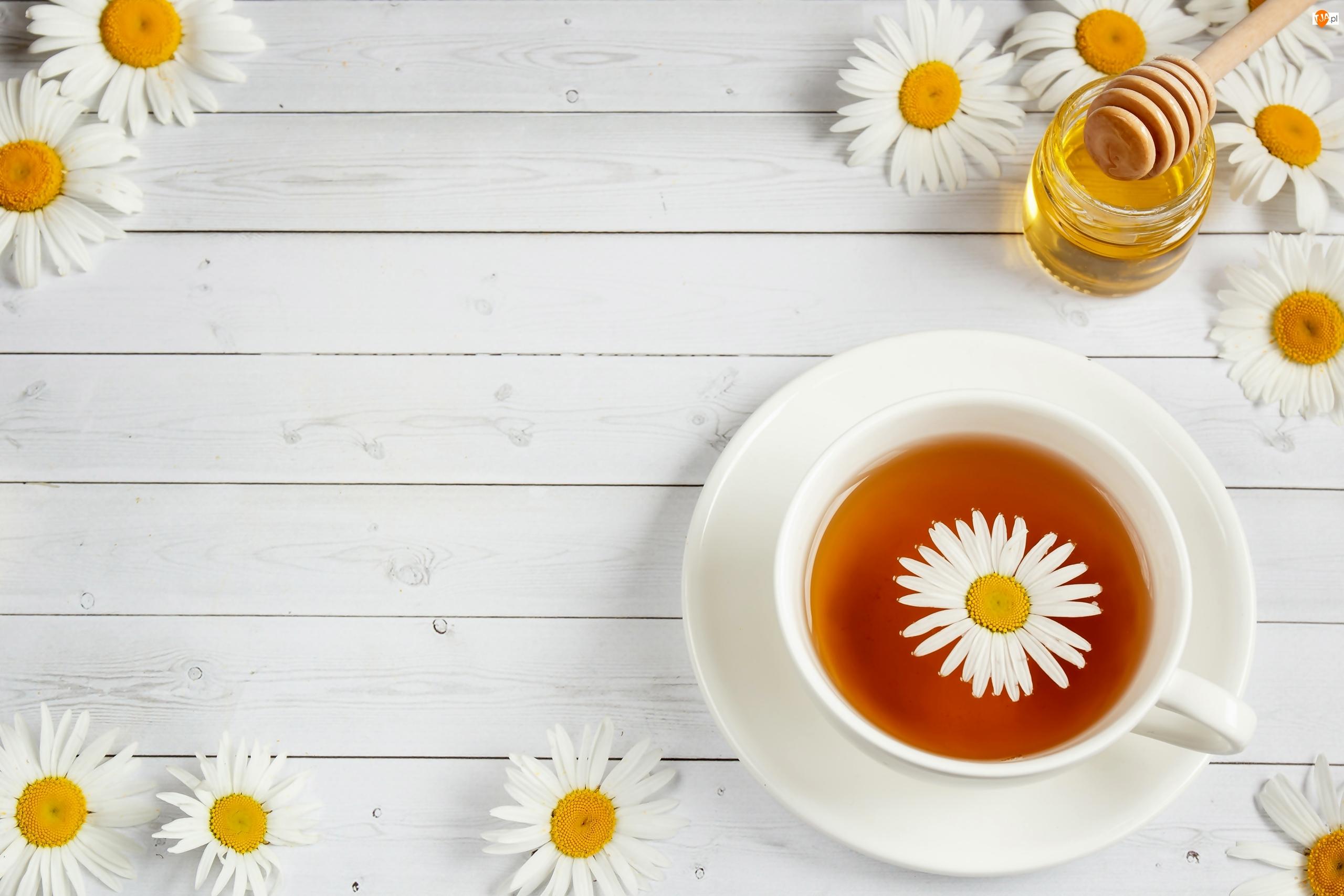 Miód, Herbata, Filiżanka, Rumianek