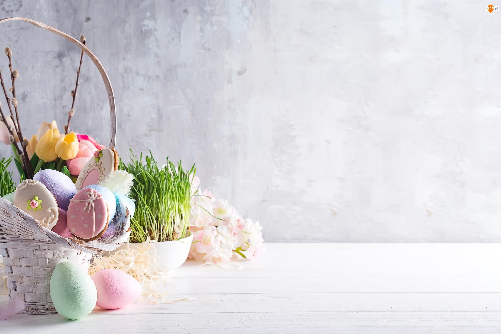 Koszyk, Kolorowe, Trawa, Wielkanoc, Tulipany, Kwiaty, Pisanki