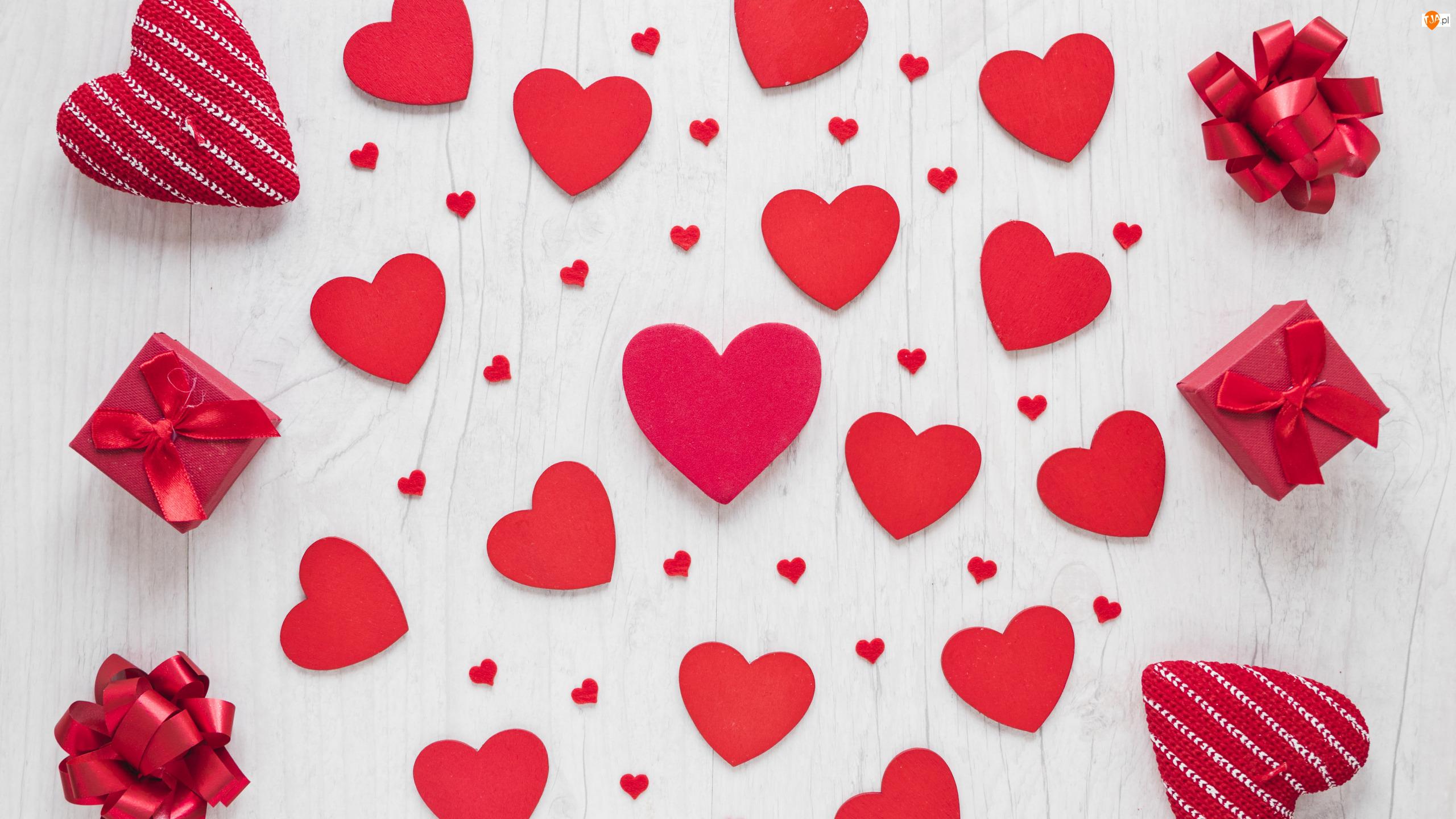 Walentynki, Miłość, Prezent, Deski, Serce, Kokarda