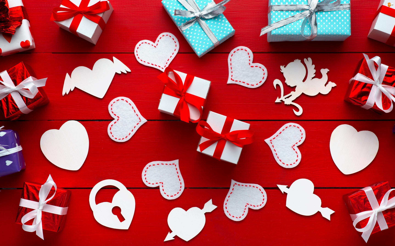 Prezenty, Walentynki, Serca, Miłość, Amorek