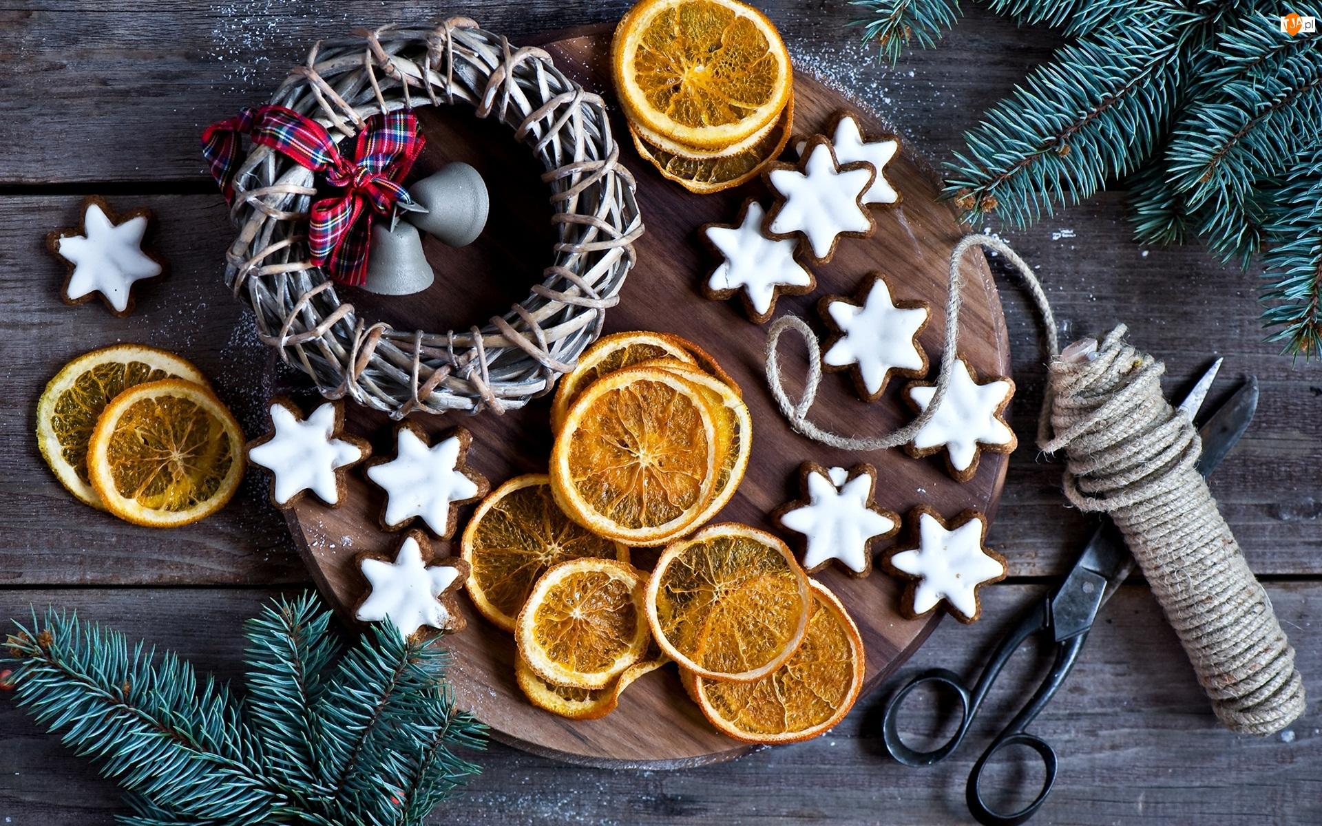 Pierniczki, Plastry, Boże Narodzenie, Kompozycja, Gałżki, Nożyce, Pomarańcze