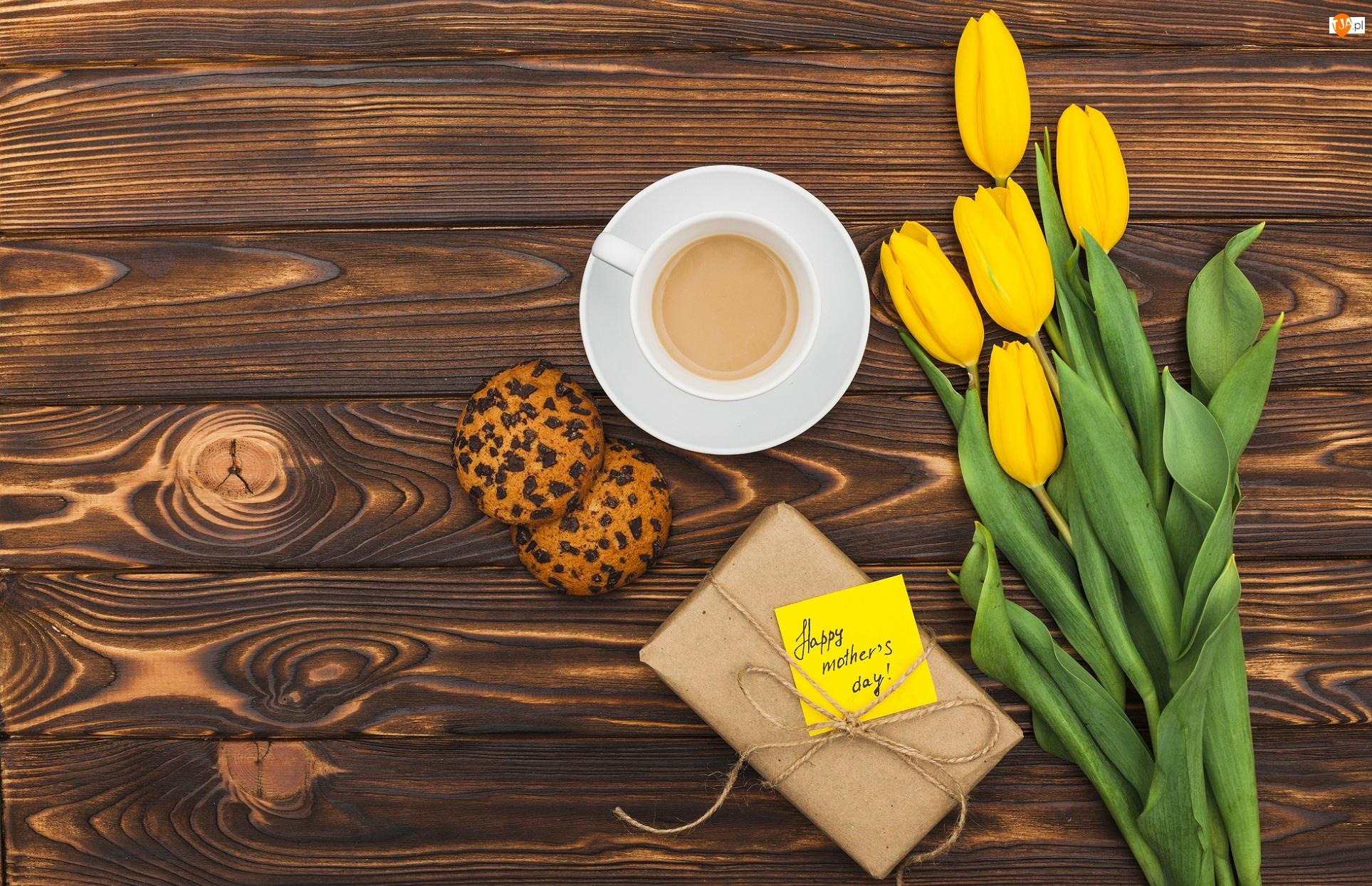 Deski, Karteczka, Napis, Prezent, Kawa, Filiżanka, Żółte, Ciasteczka, Tulipany, Dzień Matki