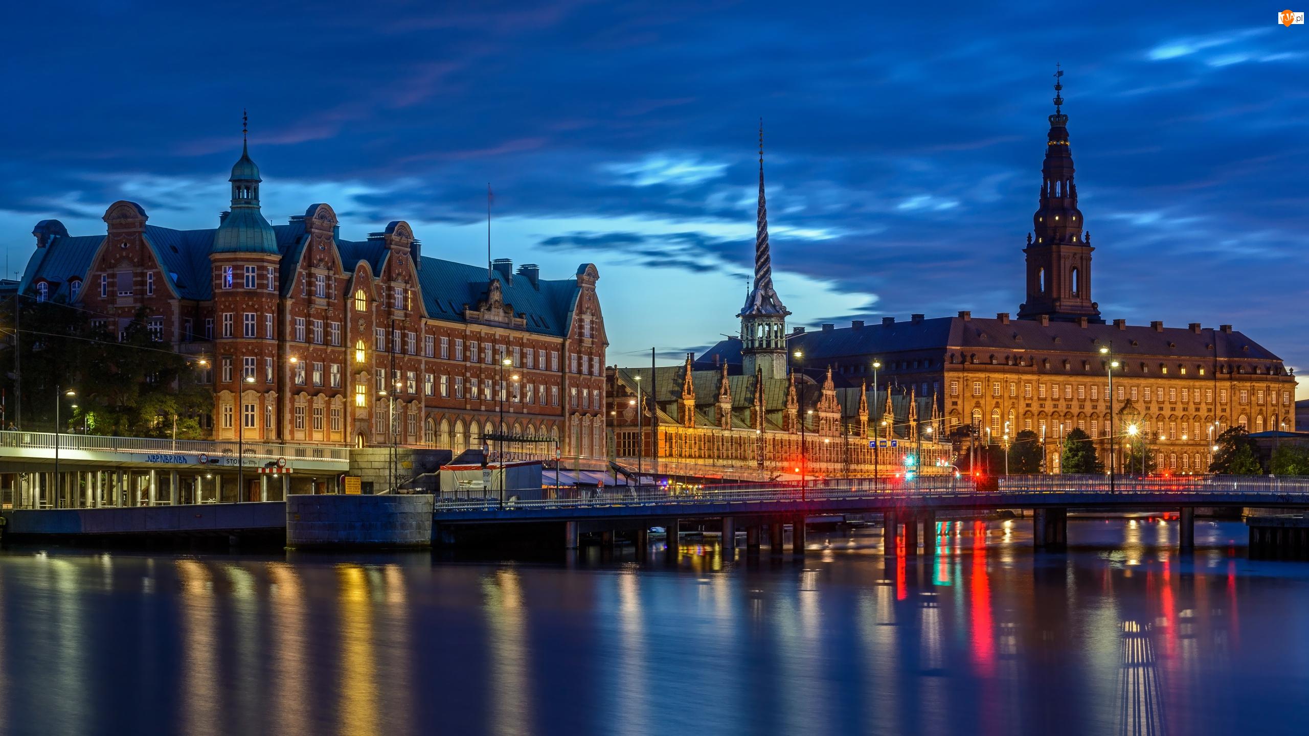 Most, Rzeka, Zamek Christiansborg, Dania, Budowla Borsen, Kopenhaga