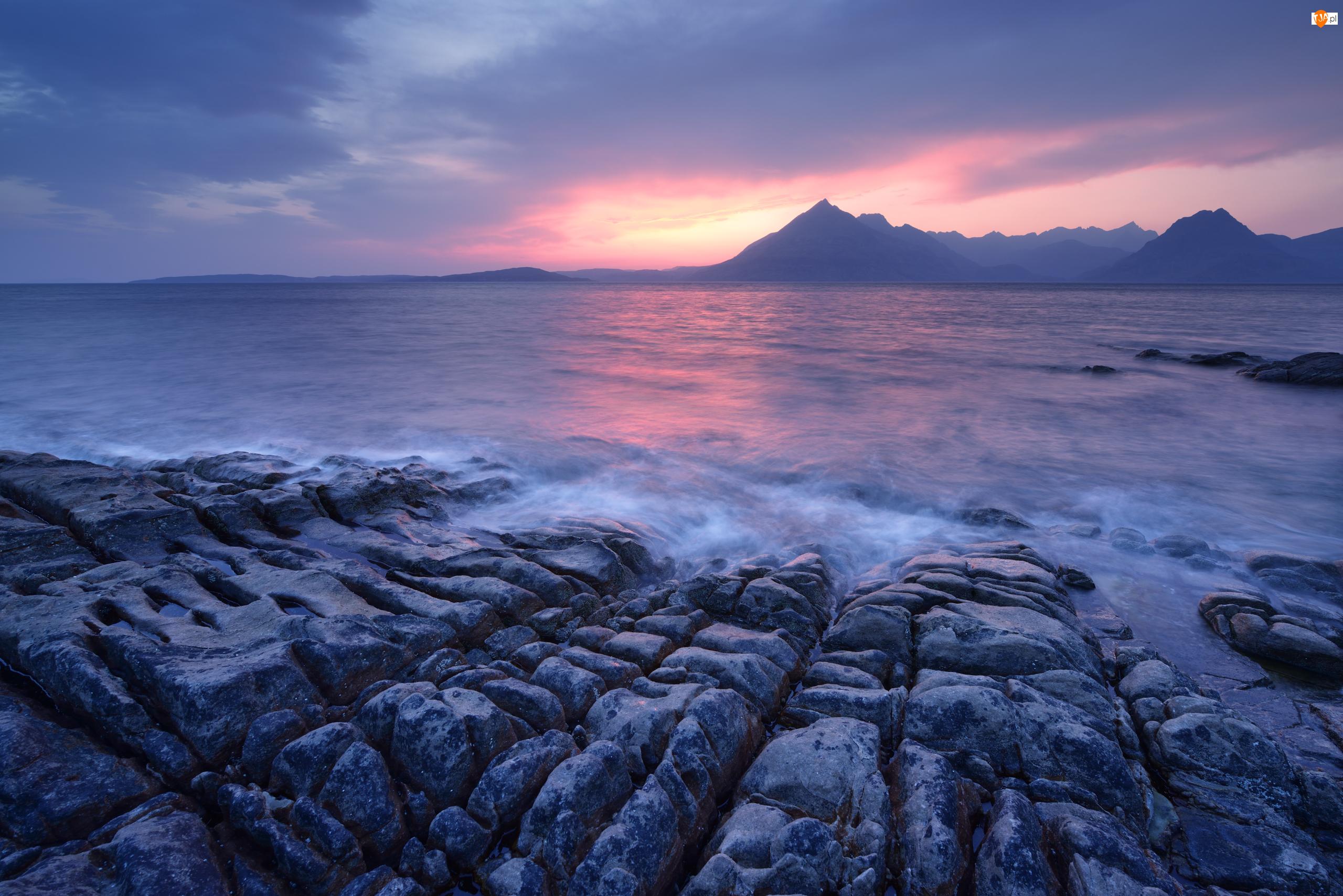 Skały, Morze, Wyspa Skye, Szkocja, Zachód słońca, Wieś Elgol