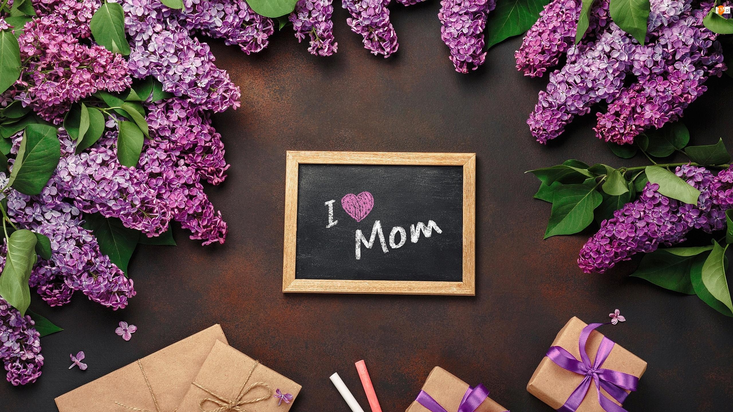 Prezenty, Kwiat, Tabliczka, Kreda, Bez, Życzenia, Dzień Matki, Liście