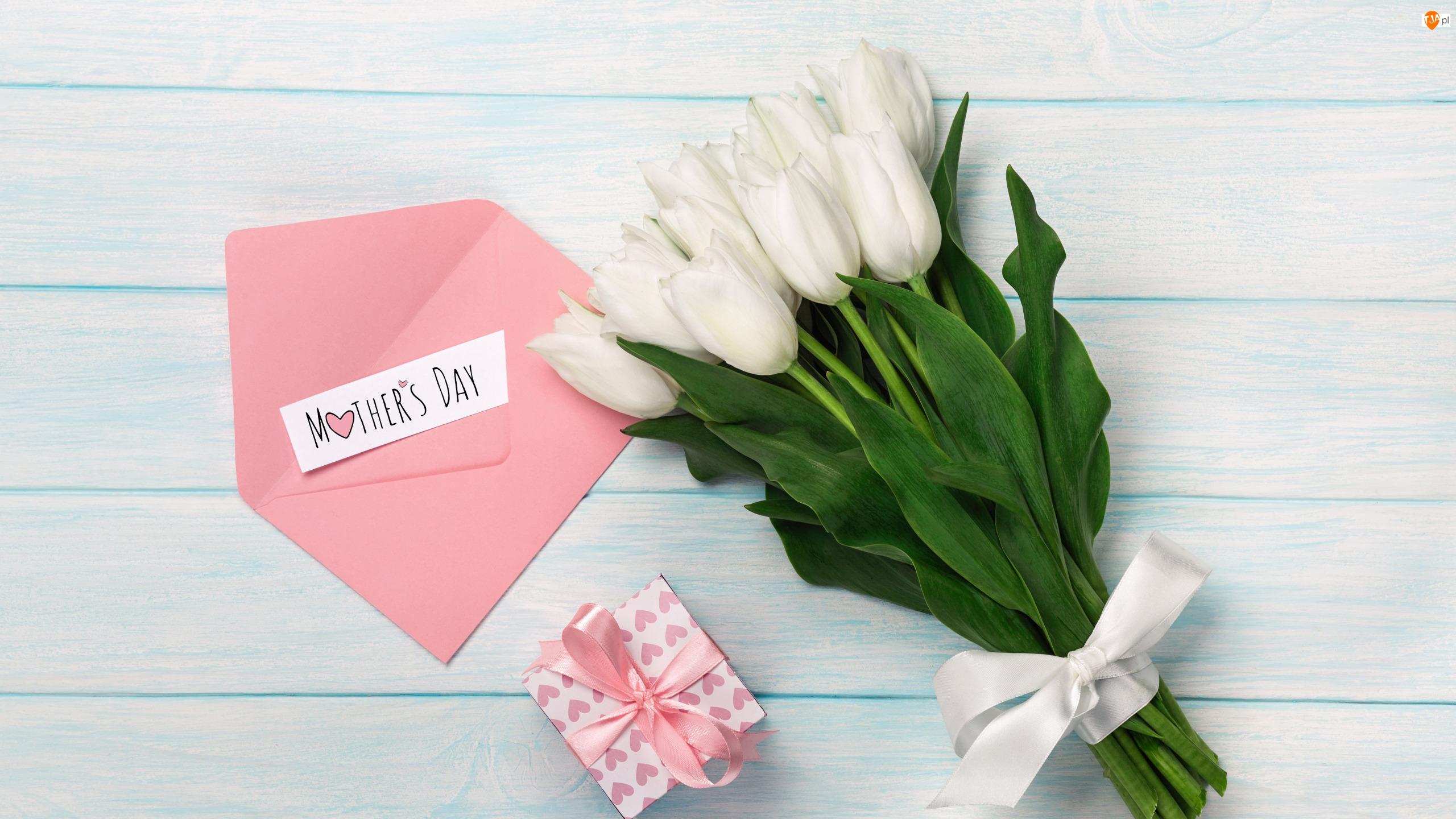Tulipany, Prezent, Wstążka, Dzień Matki, Napis, Kartka, Koperta