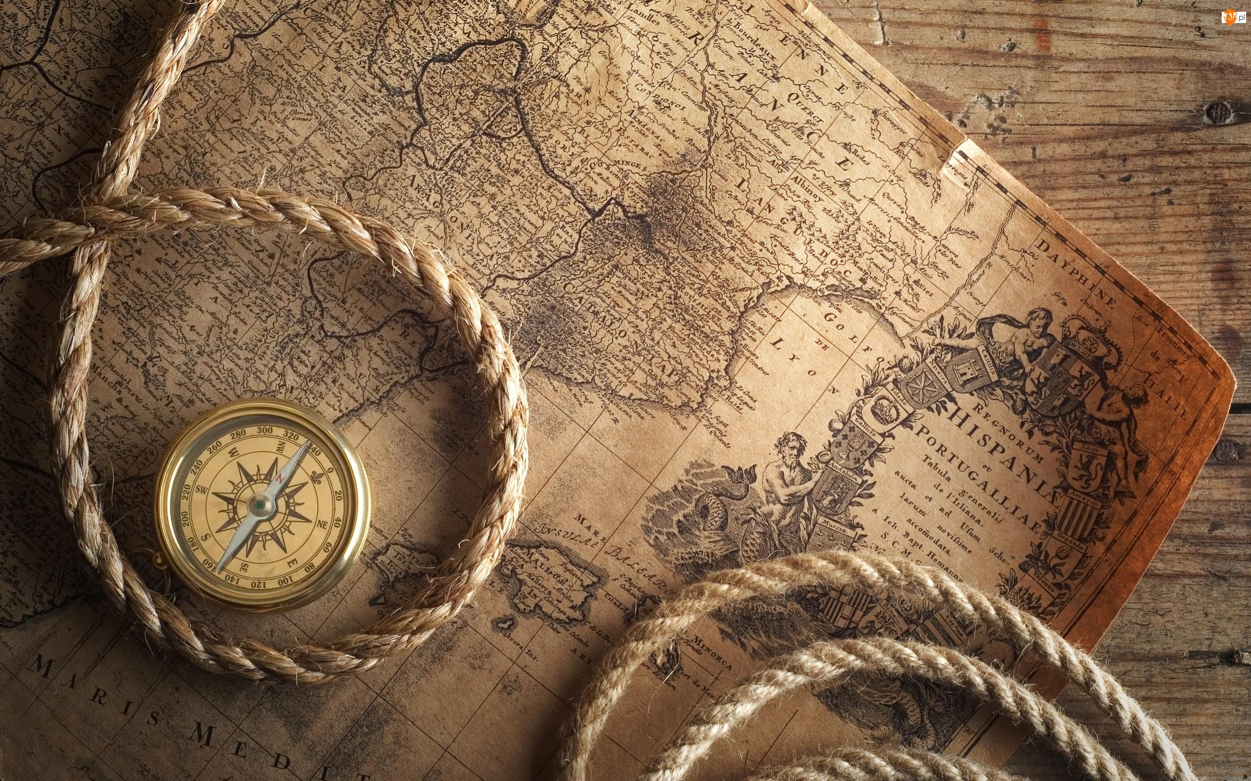 Sznur, Stara, Mapa, Kompas