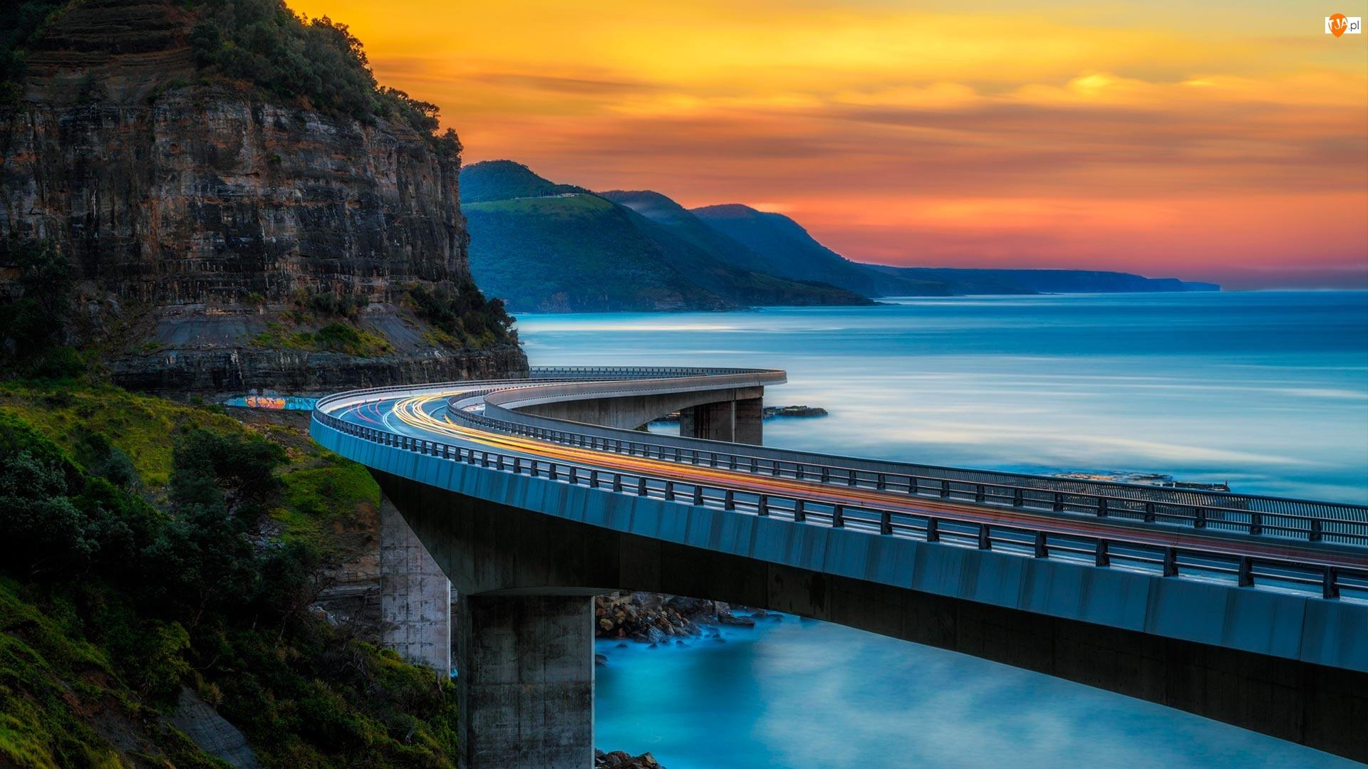 Klif, Most Sea Cliff Bridge, Morze, Nowa Południowa Walia, Zachód słońca, Ocean, Australia, Góry