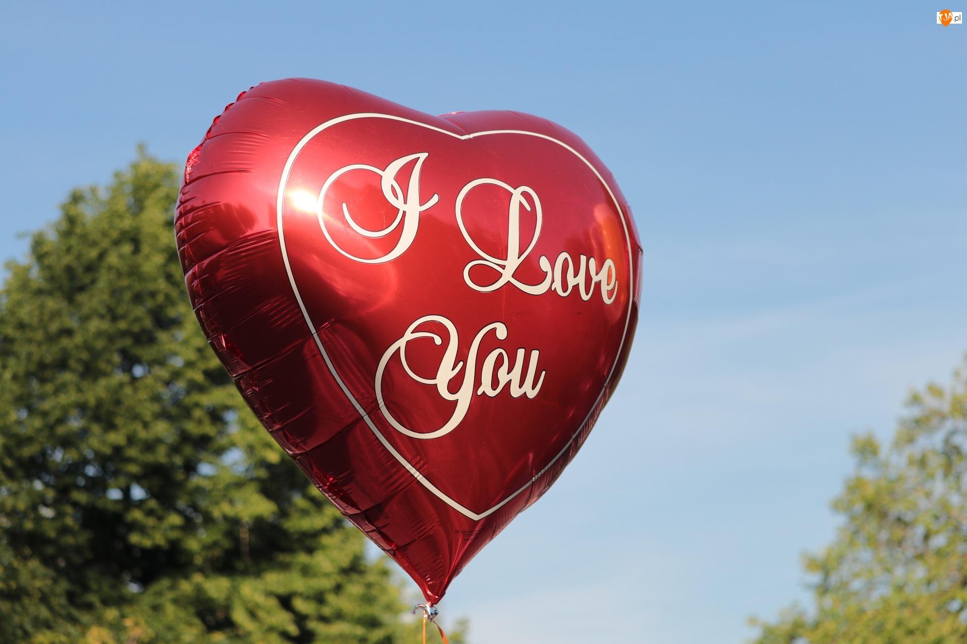 Kocham Cię, Balon, Napis, Miłość, Czerwony
