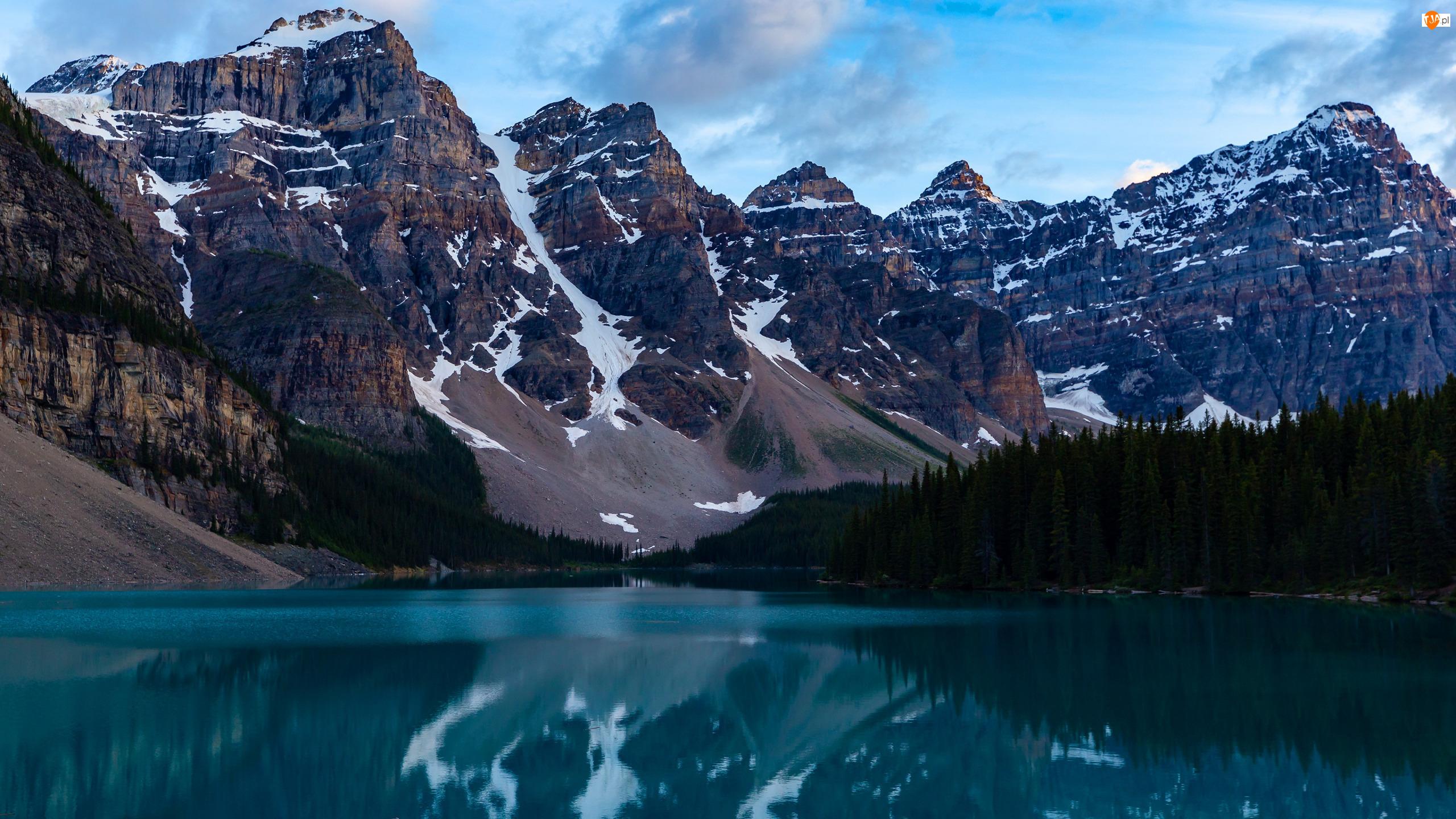 Alberta, Park Narodowy Banff, Drzewa, Kanada, Jezioro Moraine, Dolina Dziesięciu Szczytów, Góry