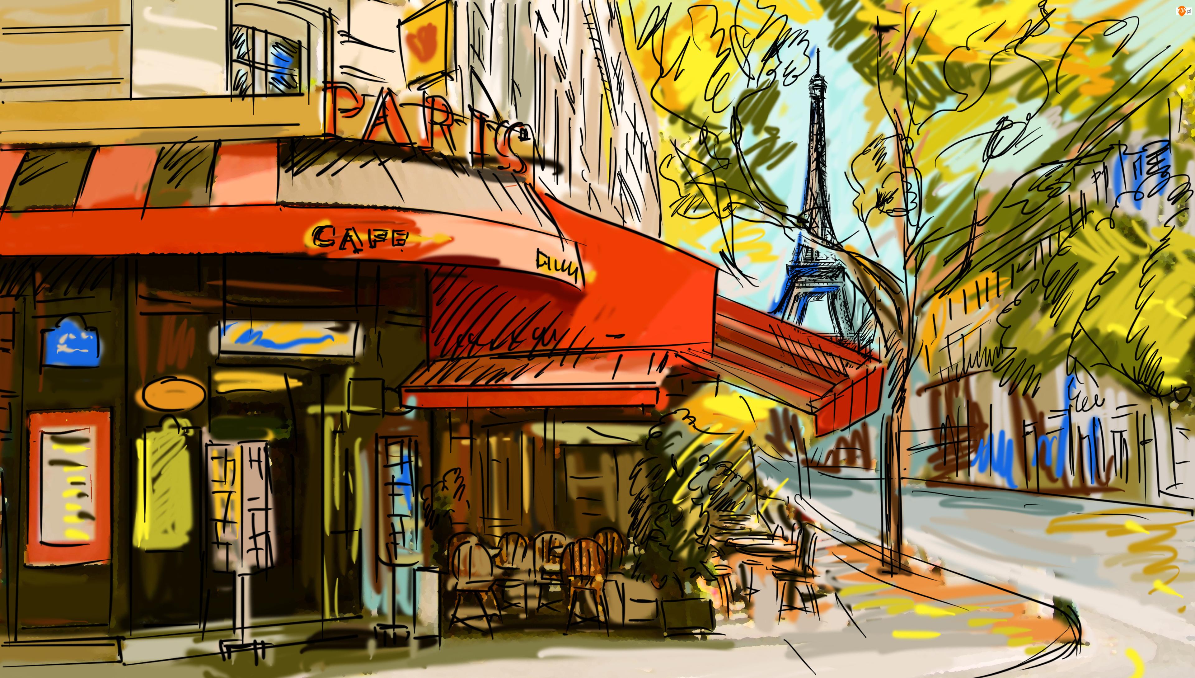 Ulica, Drzewa, Grafika, Paryż, Wieża Eiffla, Kawiarenka, Dom