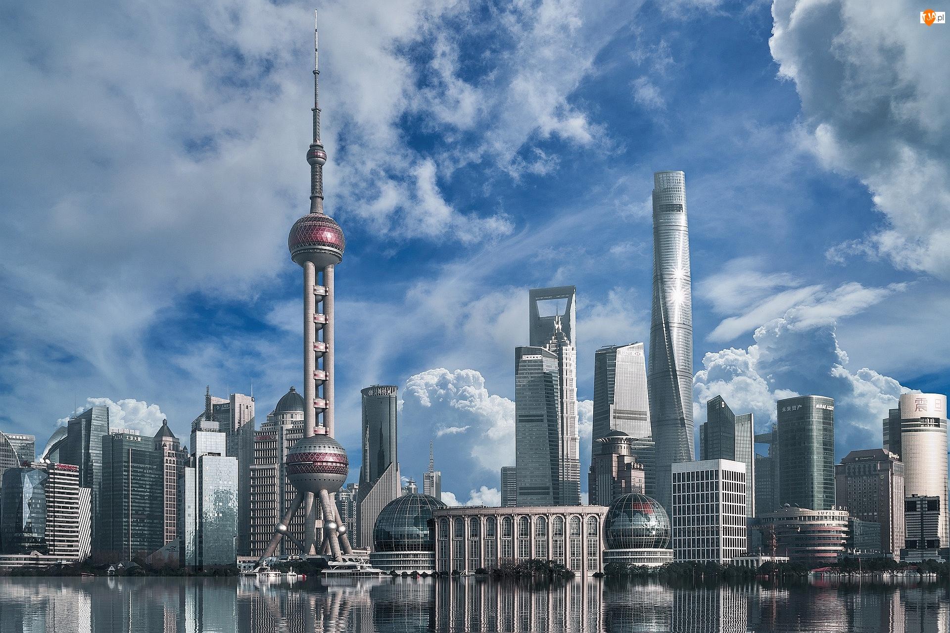 Wieża Oriental Pearl Tower, Wieżowce, Chiny, Szanghaj, Dzielnica Pudong, Odbicie, Budynki
