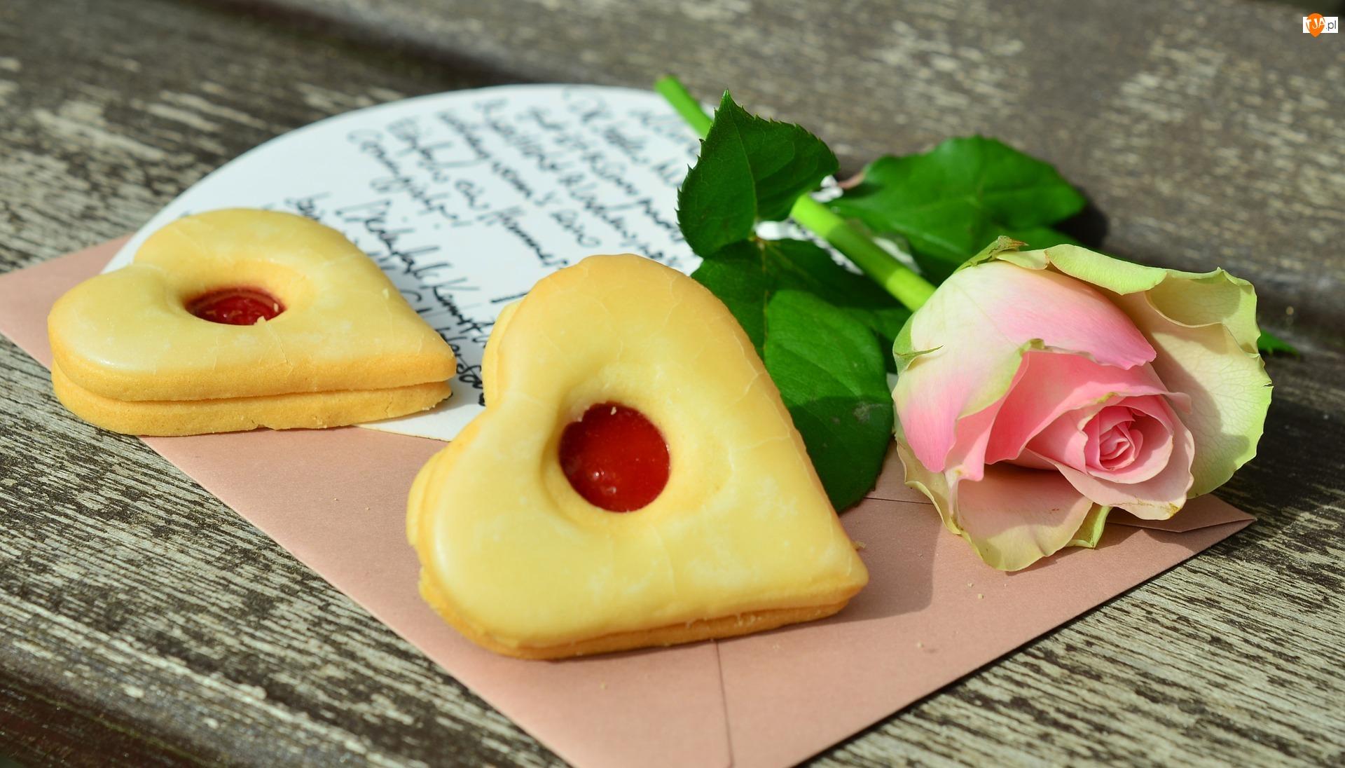 Serduszka, Walentynki, Róża, Deska, Ciasteczka, List